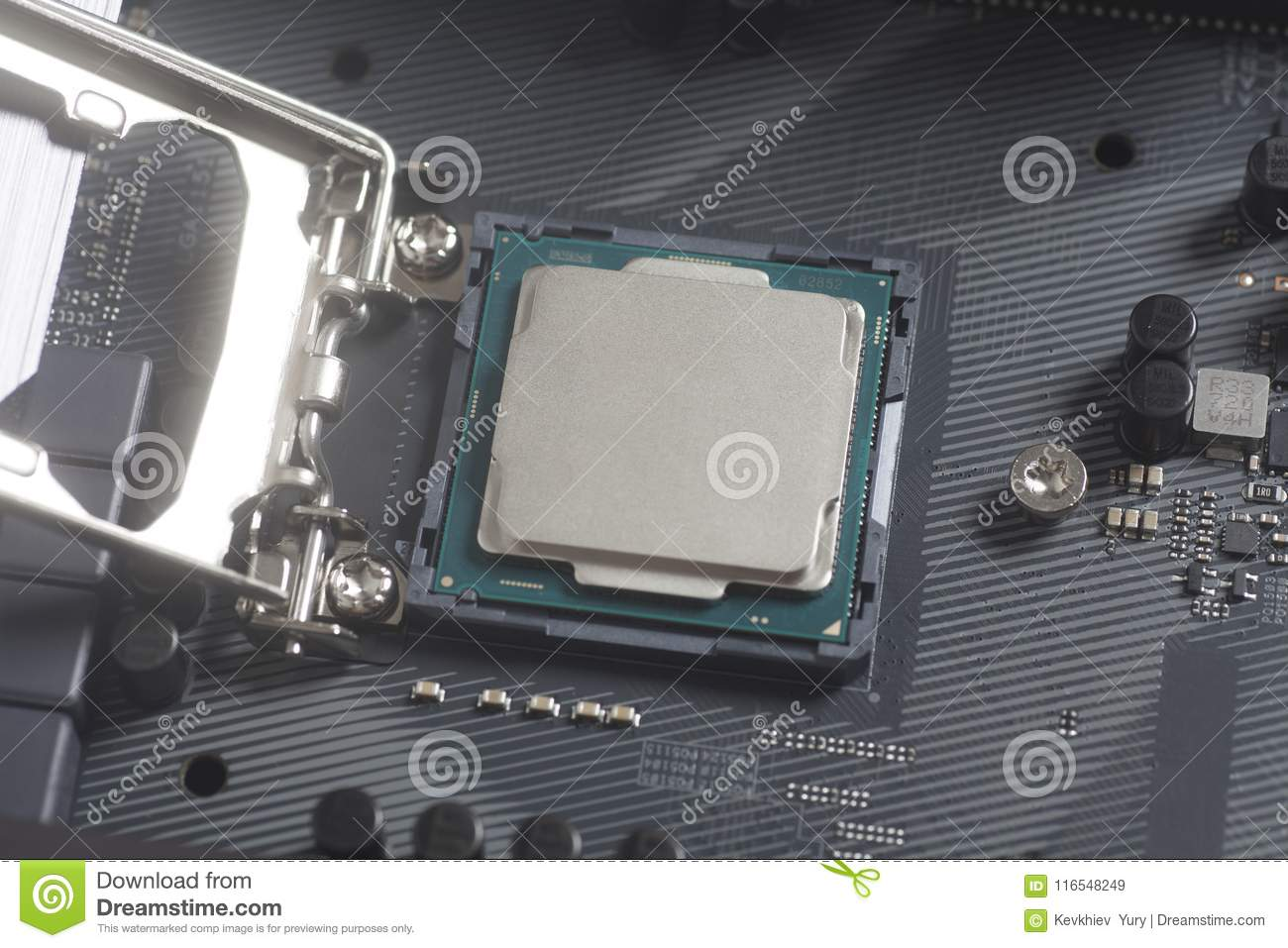 Intel LGA 1151 cpu socket on motherboard Computer PC with Processor