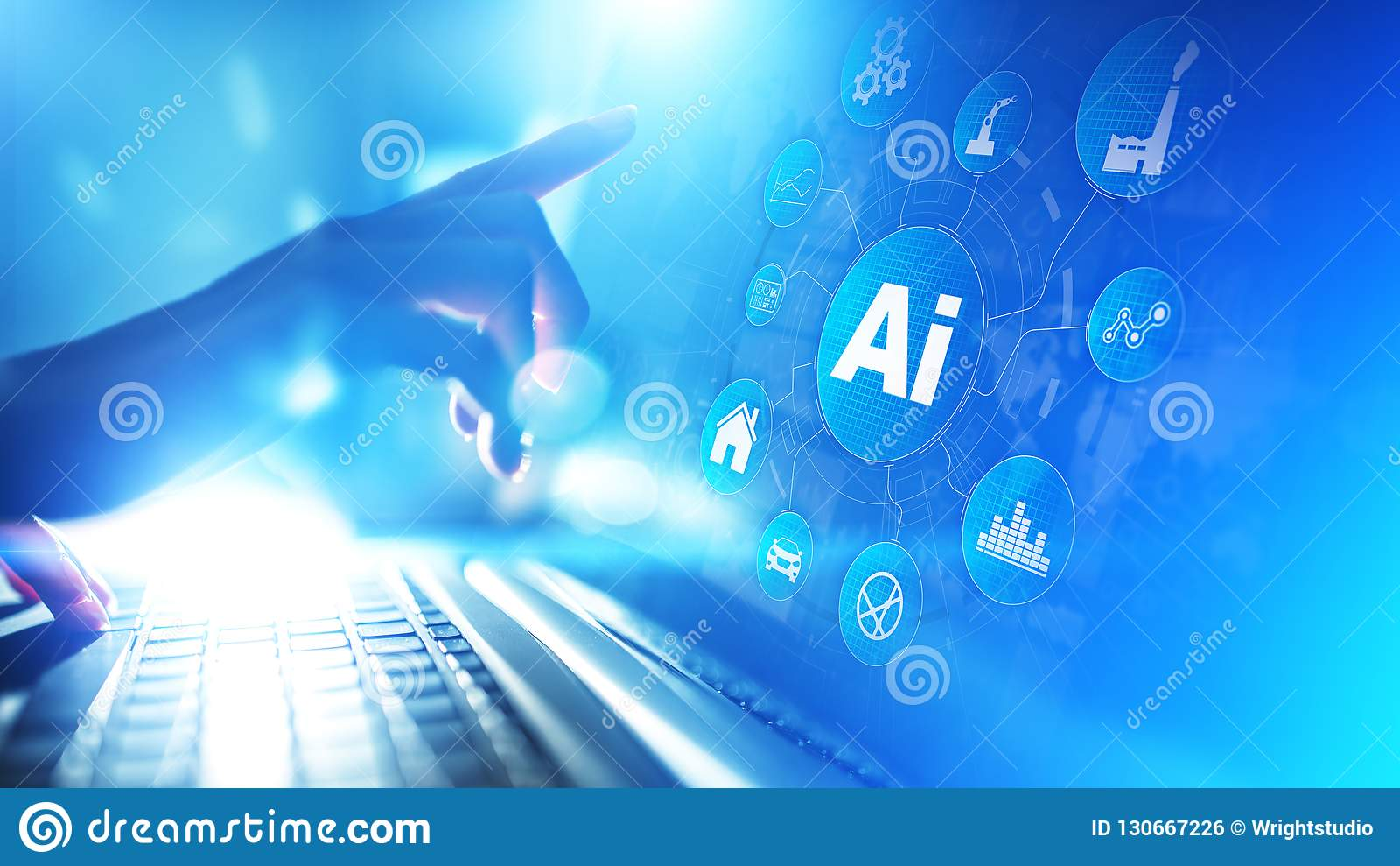 Inteligência artificial, aprendizagem de máquina, tecnologia grande da automatização da análise de dados no conceito de fabricaçã