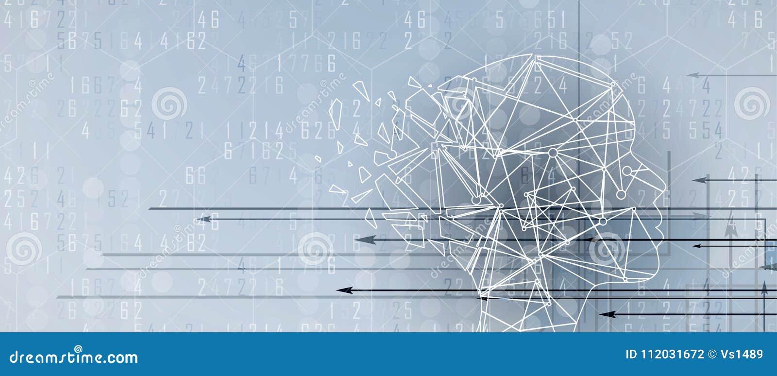 Inteligência artificial com formulário do triângulo Fundo da Web da tecnologia Concentrado virtual