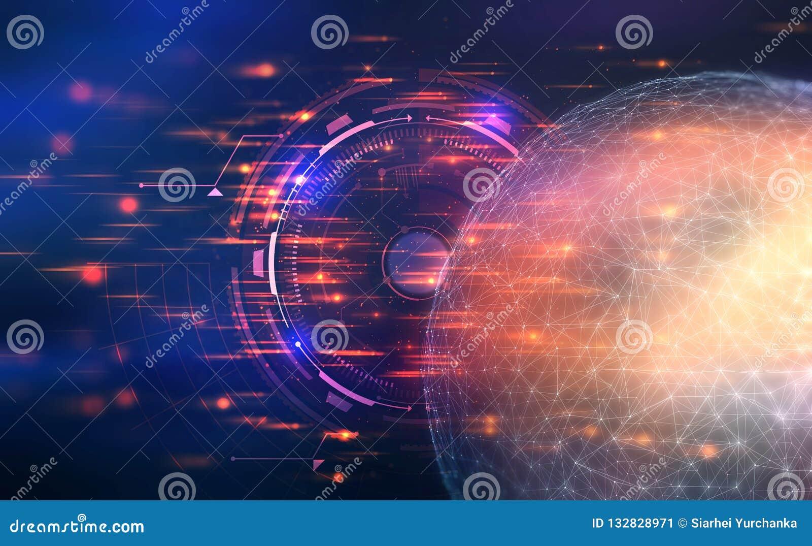 Inteligência artificial Controle sobre a rede global ilustração 3D em um fundo futurista