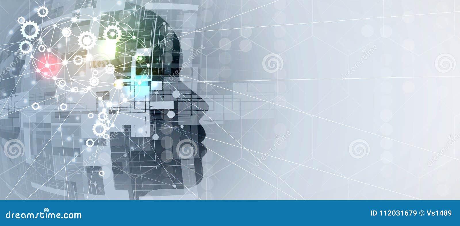 Inteligência artificial Fundo da Web do sistema da engrenagem da tecnologia Concentrado virtual