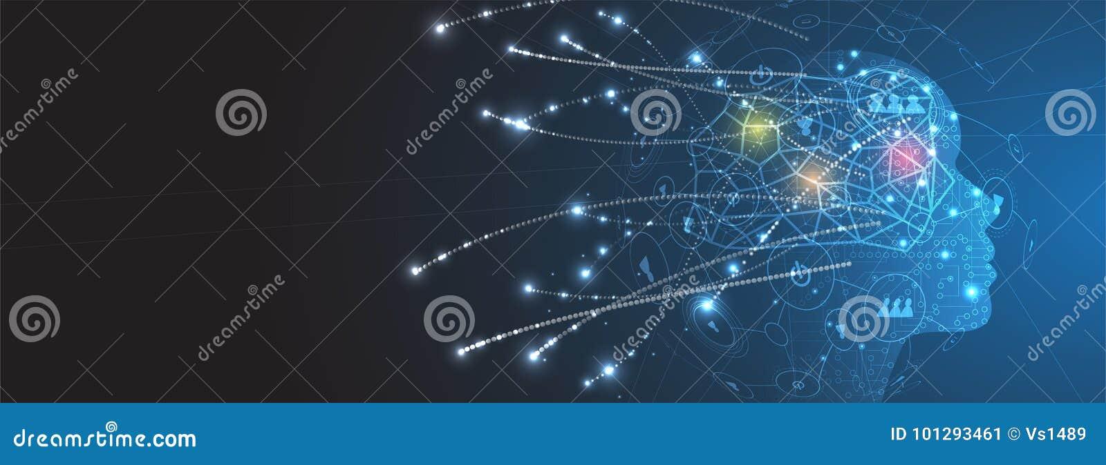 Inteligência artificial Fundo da Web da tecnologia Concentrado virtual