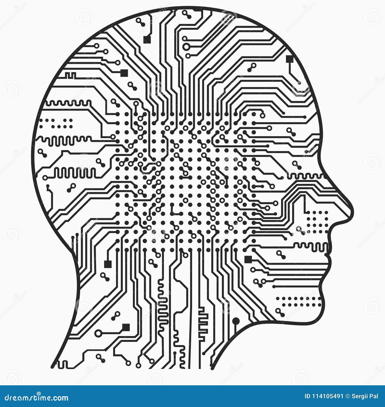 Inteligência artificial A imagem de esboços da cabeça humana, dentro de que há uma placa de circuito abstrata