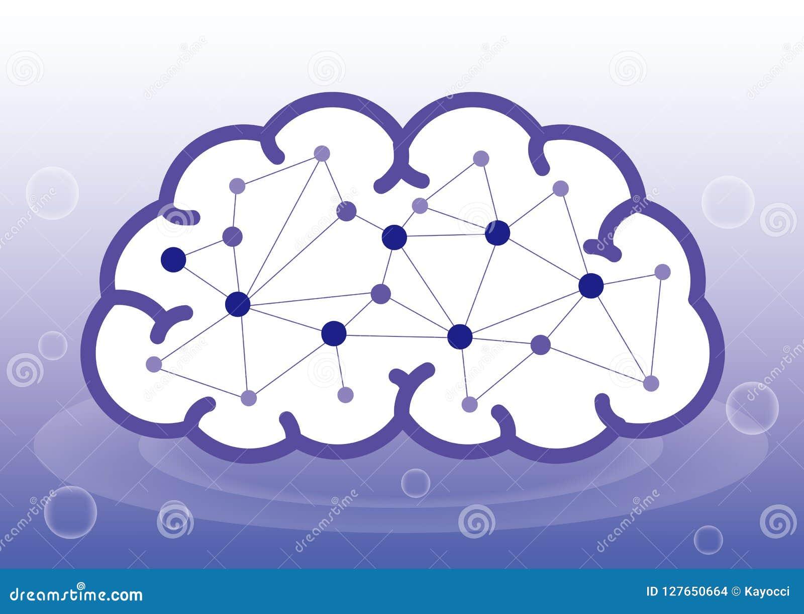 Inteligência artificial ou interior a imagem do cérebro humano