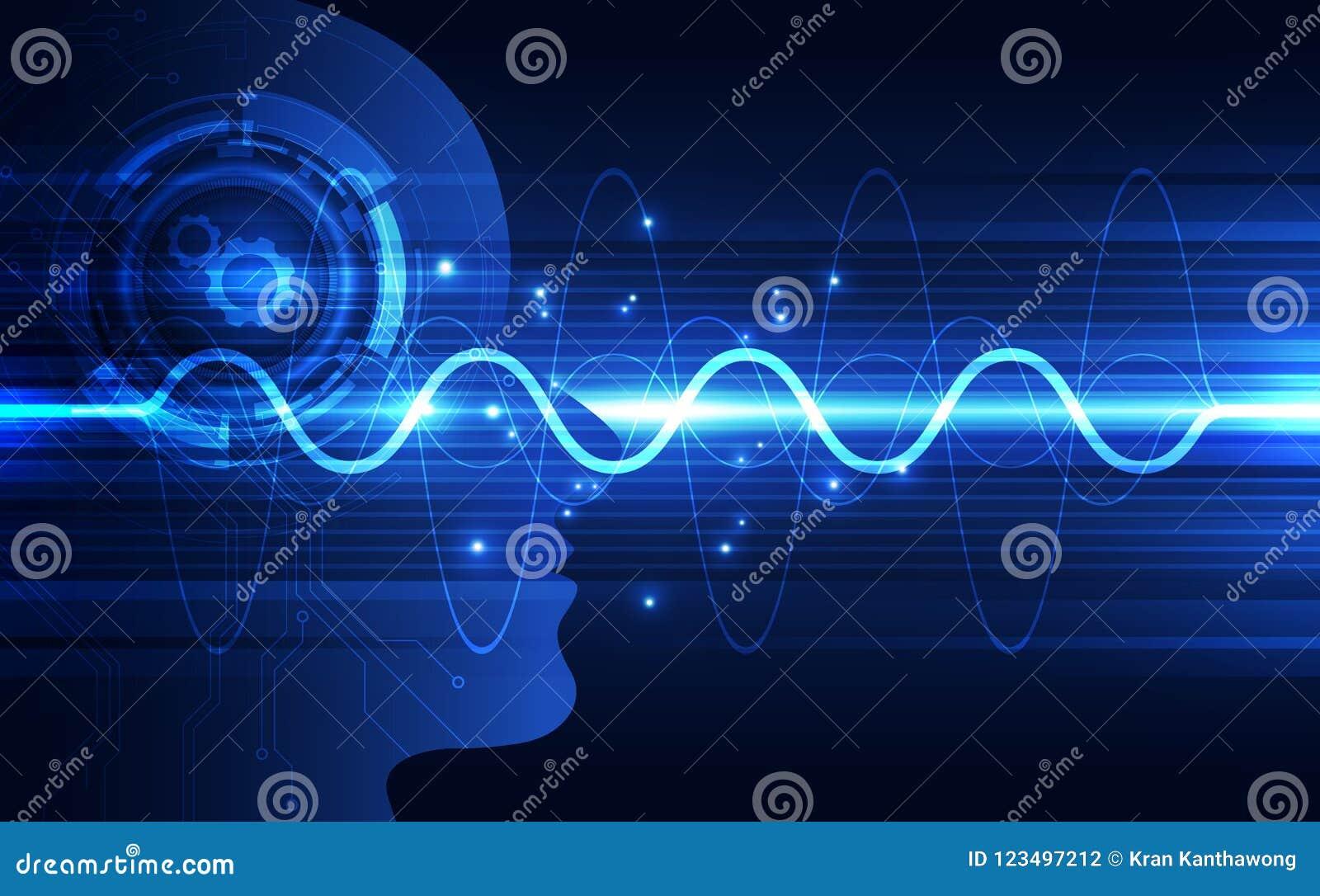 Inteligência artificial Tecnologia digital do AI no futuro Conceito virtual Fundo da ilustração do vetor