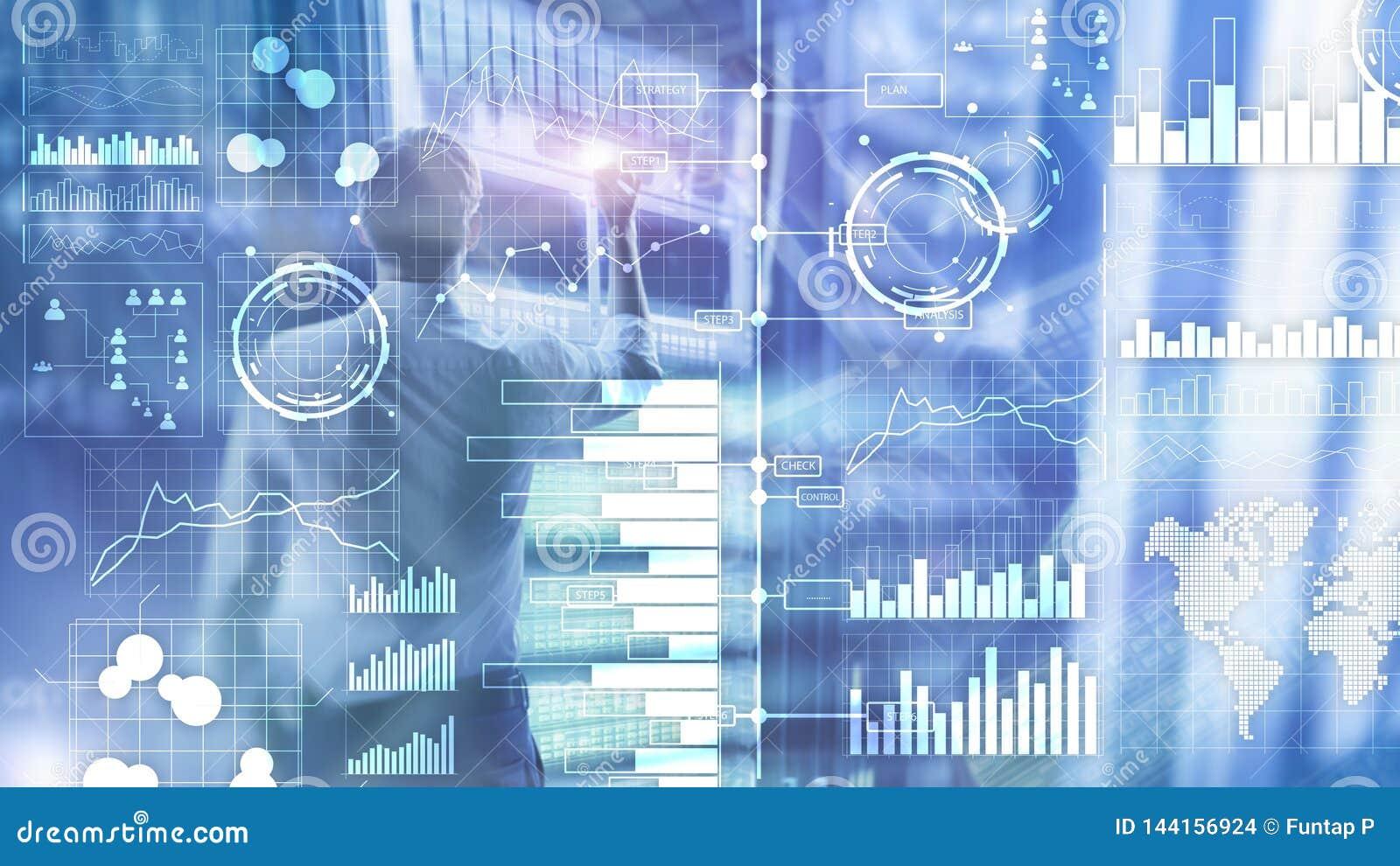 Inteligência empresarial Diagrama, gráfico, compra e venda de ações, painel do investimento, fundo borrado transparente