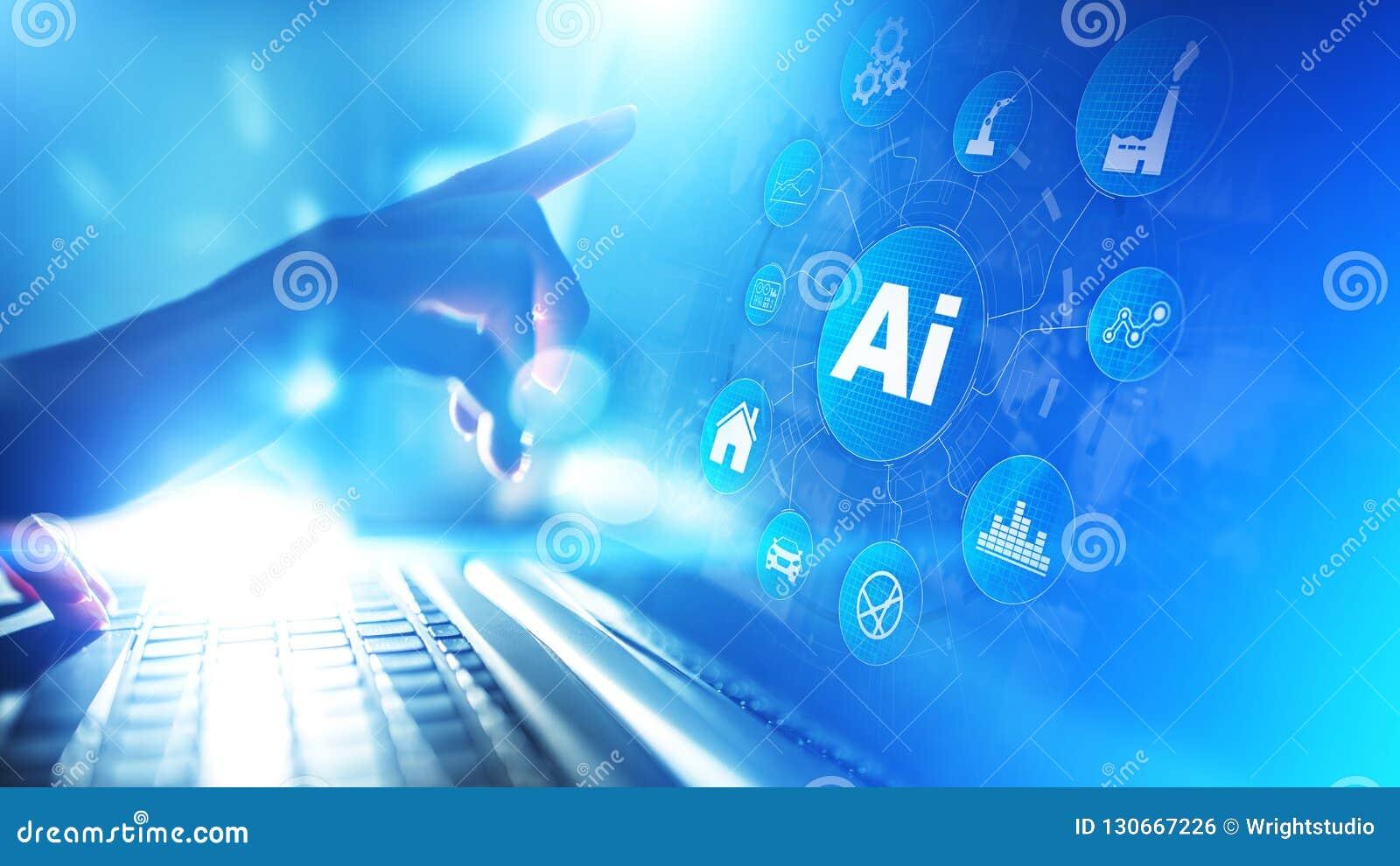 Inteligencia artificial, aprendizaje de máquina, tecnología grande de la automatización del análisis de datos en concepto de fabr