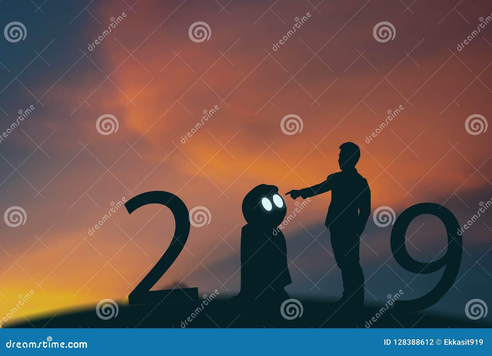 Inteligencia artificial de 2019 años o concepto del ai, soporte del hombre de negocios de la silueta y mano futuristas del punto