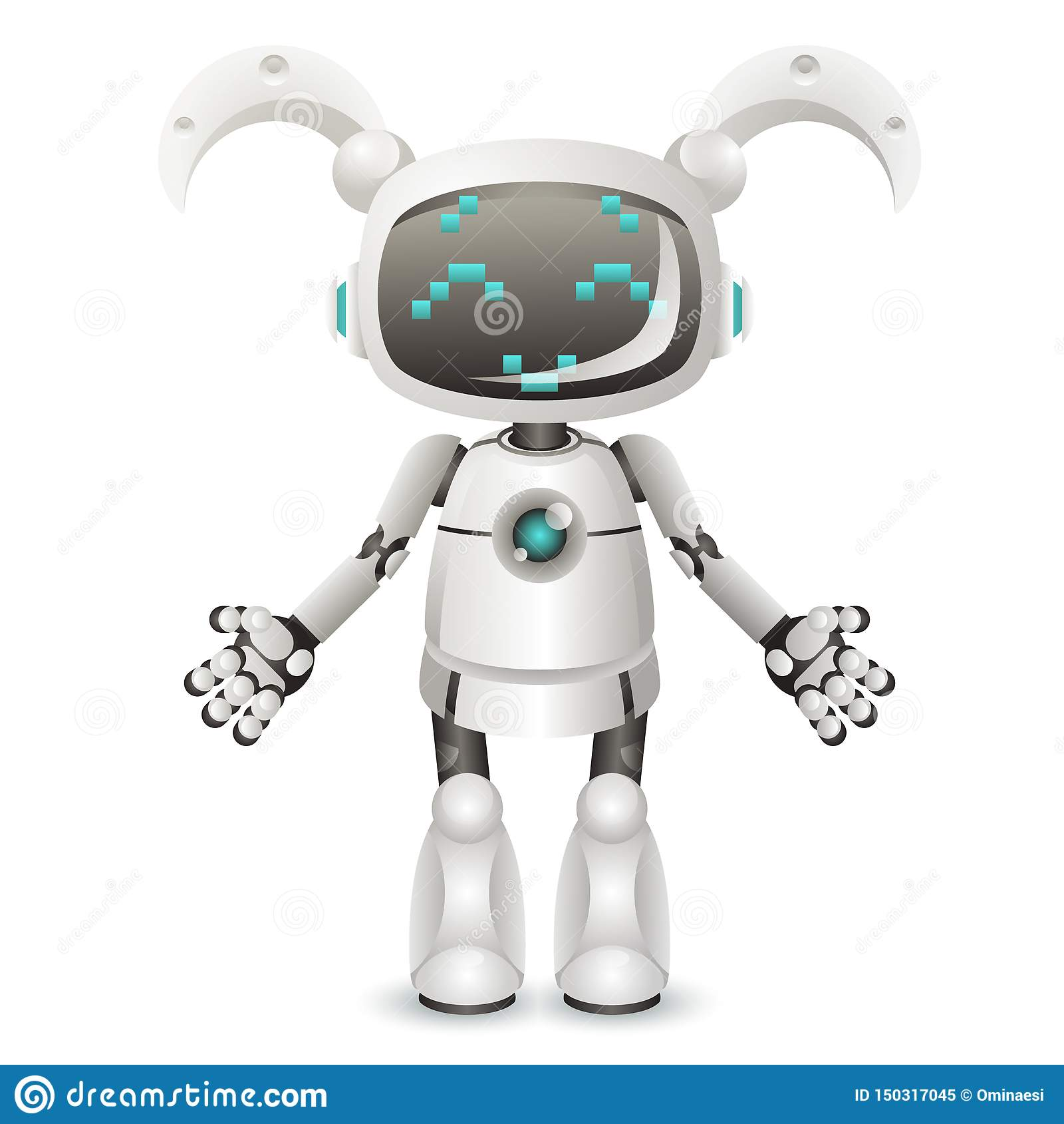 Inteligencia artificial de la muchacha del carácter androide femenino lindo moderno del robot aislada en el diseño realista blanc