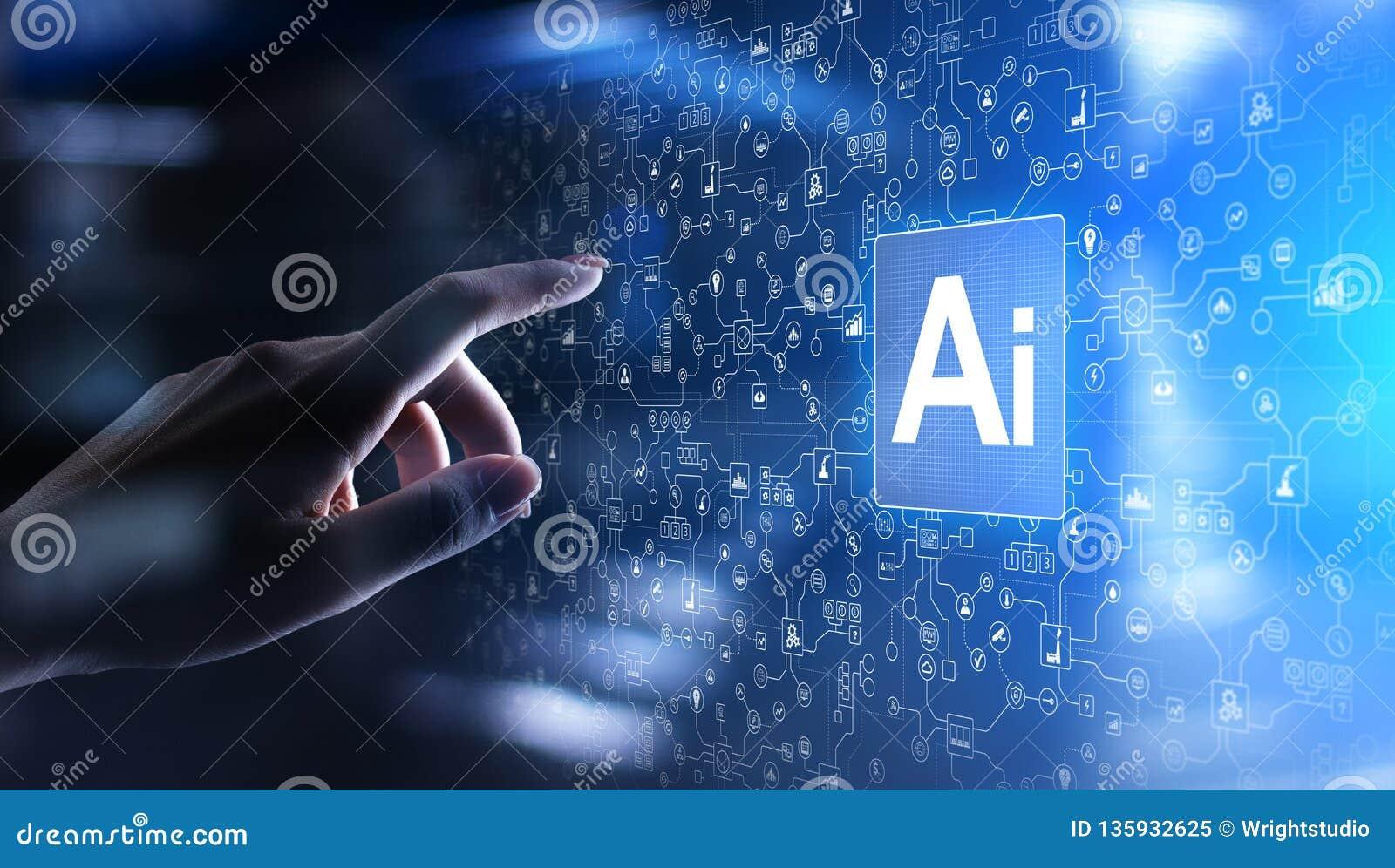 Inteligencia artificial del AI, aprendizaje de máquina, análisis de datos grande y tecnología de la automatización en negocio