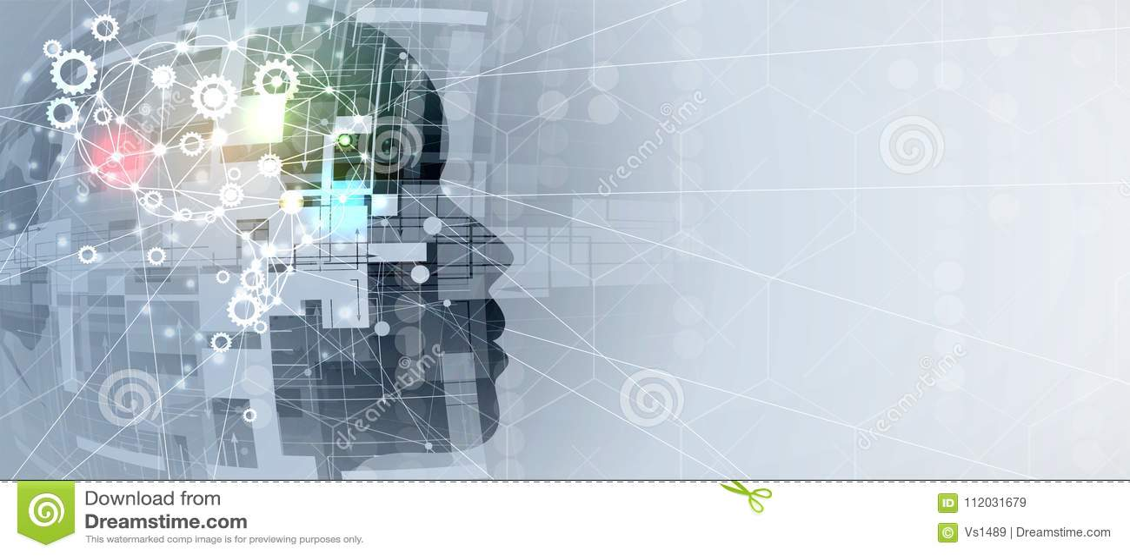 Inteligencia artificial Fondo del web del sistema del engranaje de la tecnología Concentrado virtual