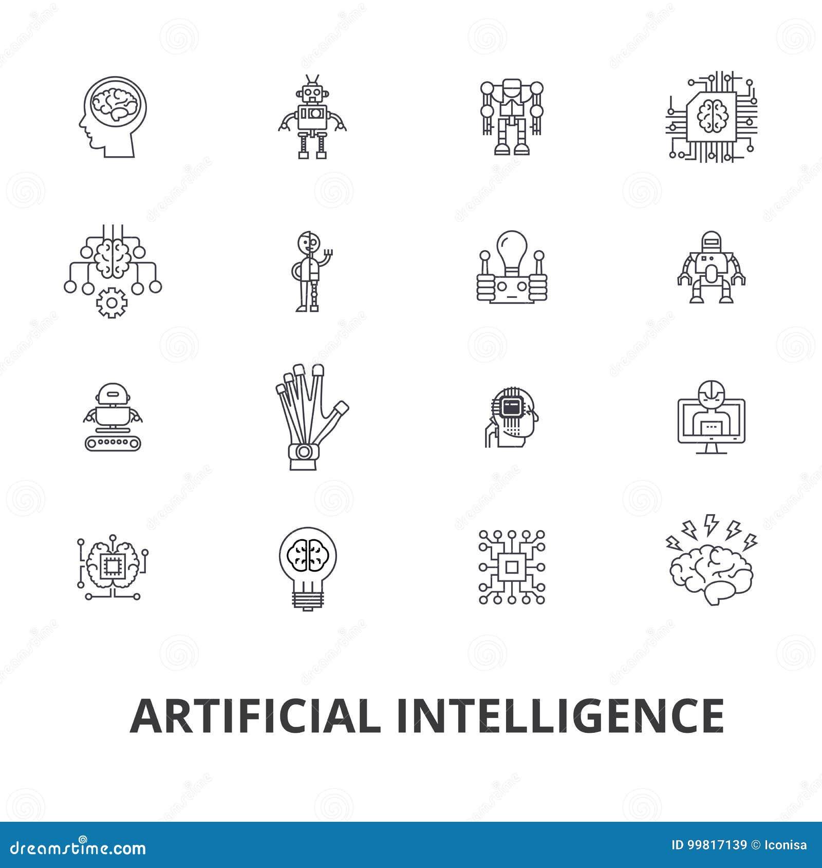 Inteligencia artificial, robot, cerebro del ordenador, técnica, cyborg, cerebro, línea androide iconos Movimientos Editable plano