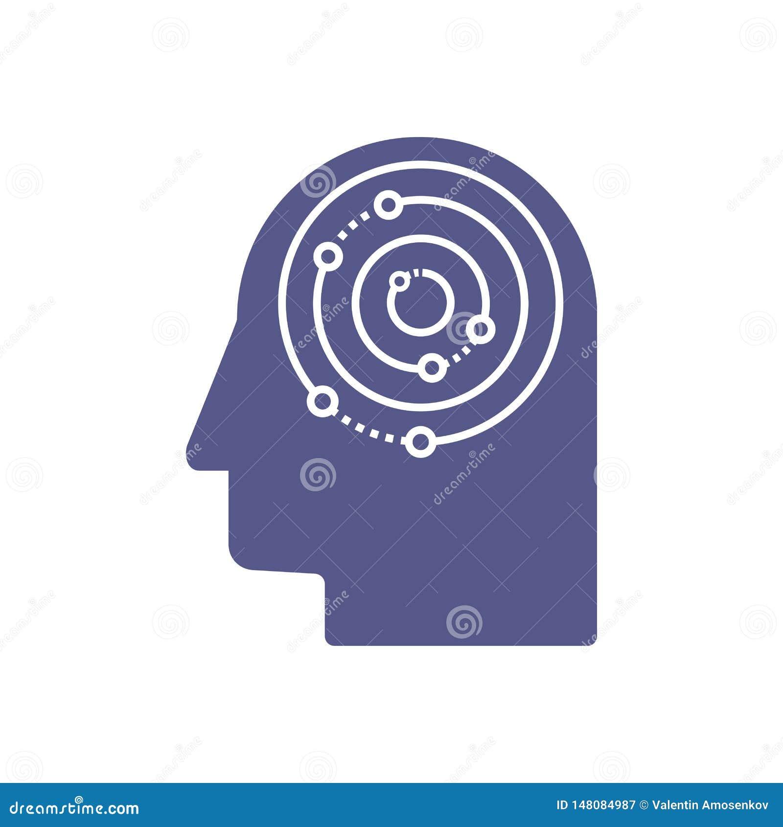 Inteligencia artificial y plantilla principal humana del logotipo Rejilla de la electr?nica de los circuitos y dise?o del vector