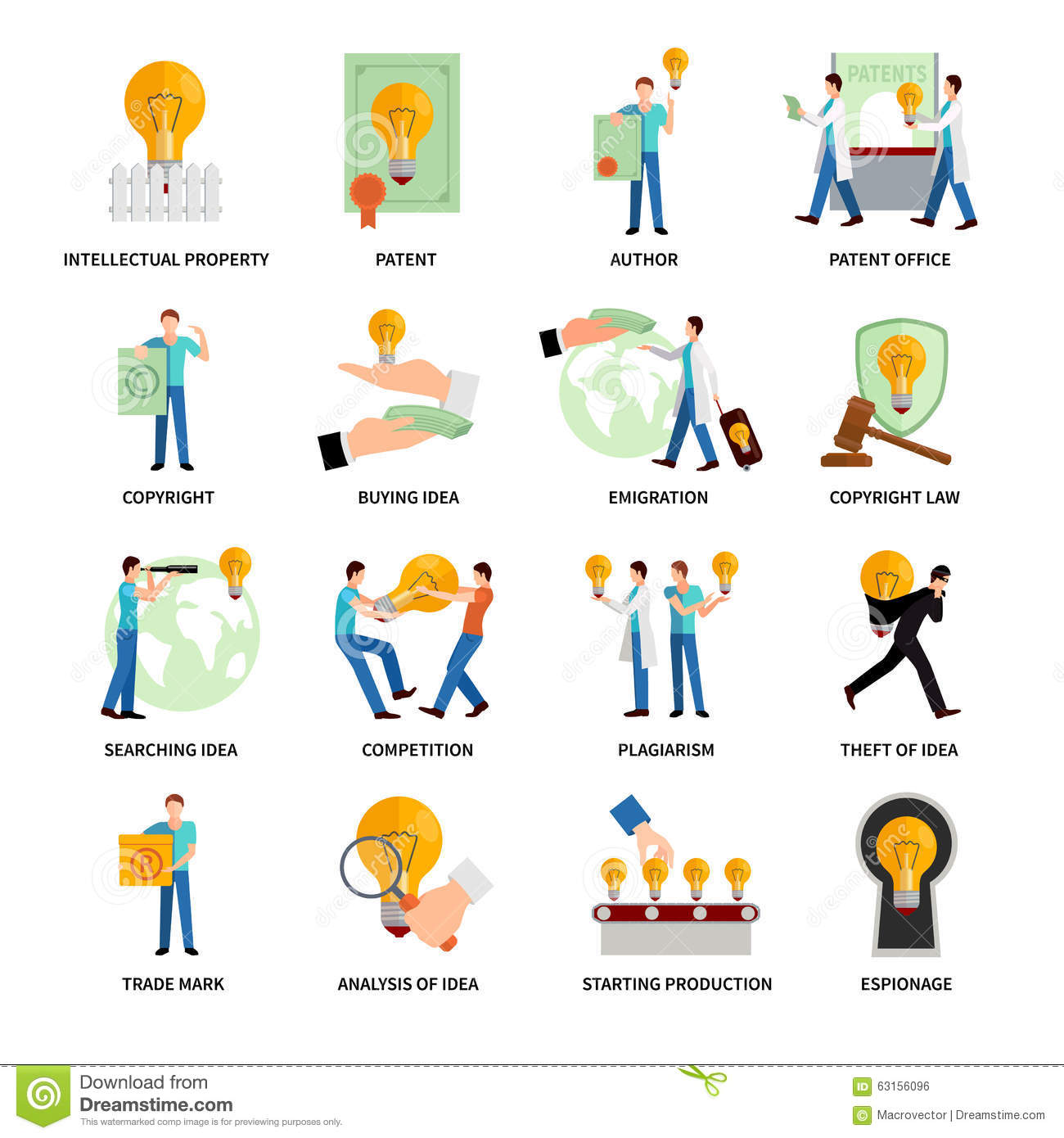 Intellectual Property Icons Stock Vector Illustration Of Patent