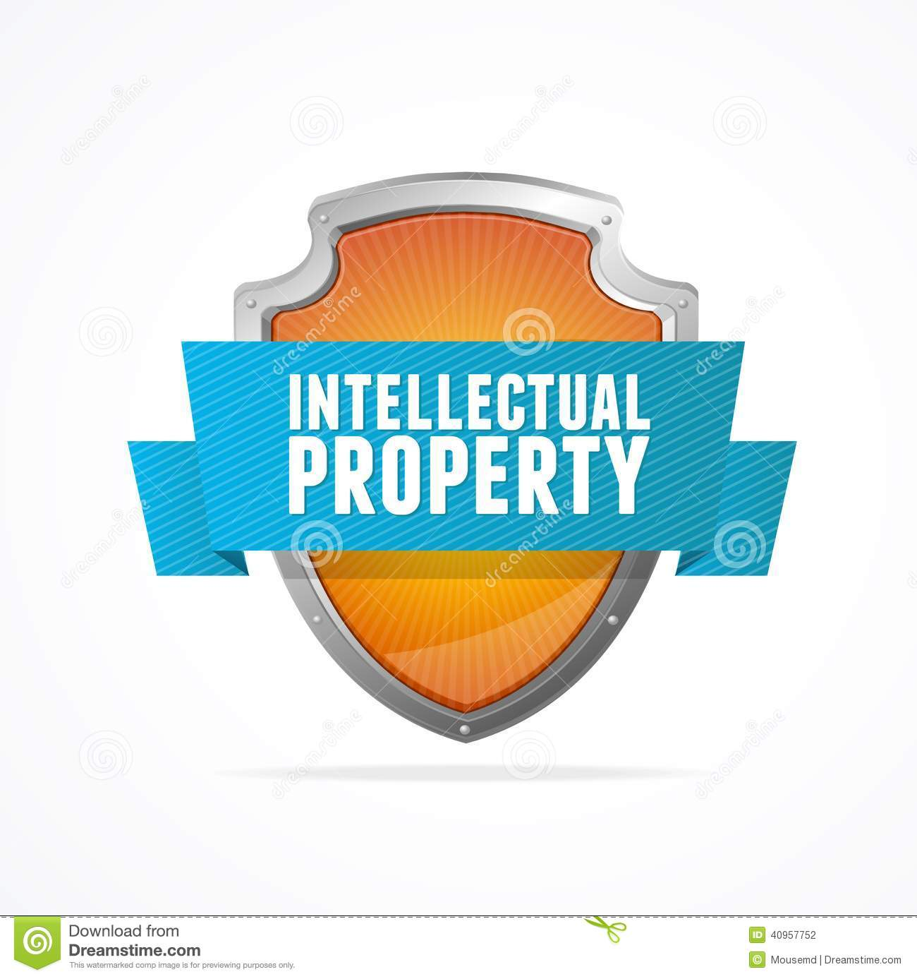 Itellectual Property: Intellectual Property Protect Shield On White Stock Vector