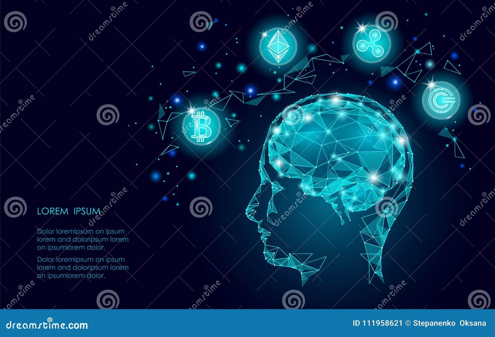 Intellegence artifitial d esprit humain numérique de cryptocurrency de pièce de monnaie d ondulation d Ethereum Bitcoin Grande ex