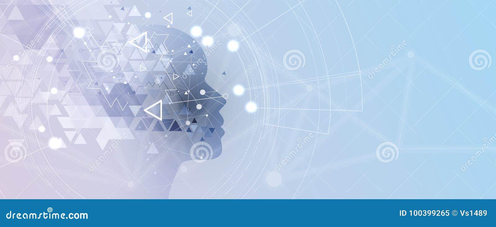 Intelligence artificielle Fond de Web de technologie Concentré virtuel