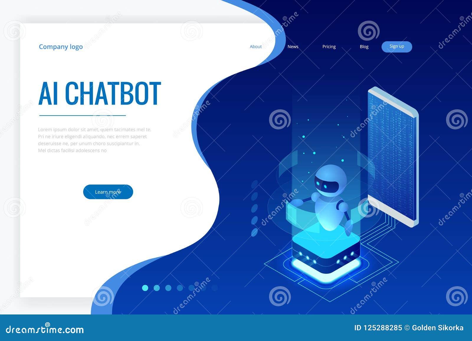 Intelligence artificielle isométrique Chatbot et future vente Concept d AI et d affaires IOT Service d aide de dialogue