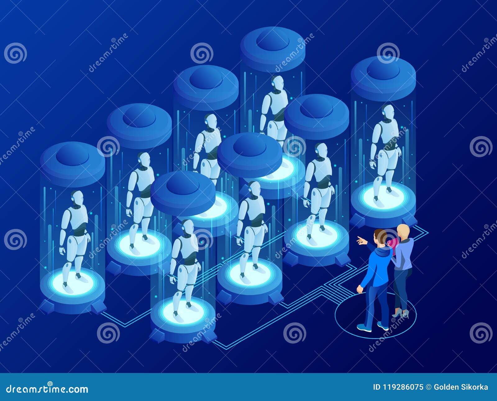 Intelligence artificielle isométrique dans des robots Technologie et ingénierie L ingénieur de scientifiques conçoit le cerveau,