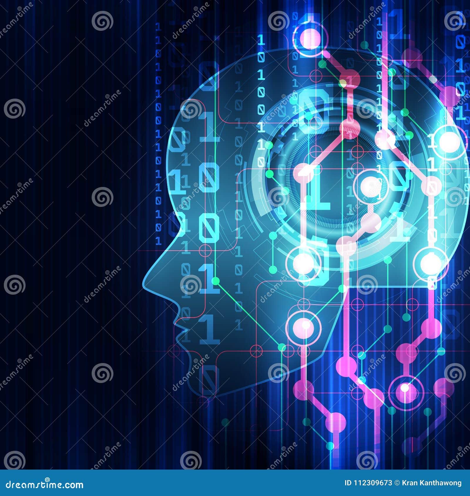 Intelligence artificielle Technologie numérique d AI à l avenir Concept virtuel Fond d illustration de vecteur