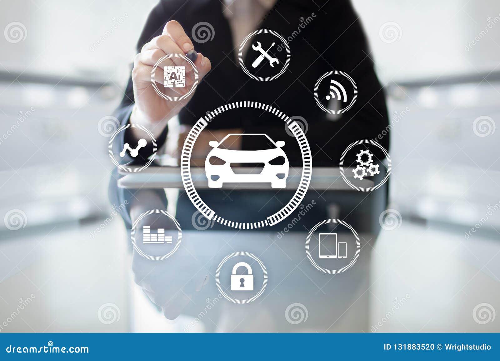 Intelligent bil, AI-medel, smart kort Symbol av bilen och symbolen Modern trådlös kommunikation och IOT-begrepp
