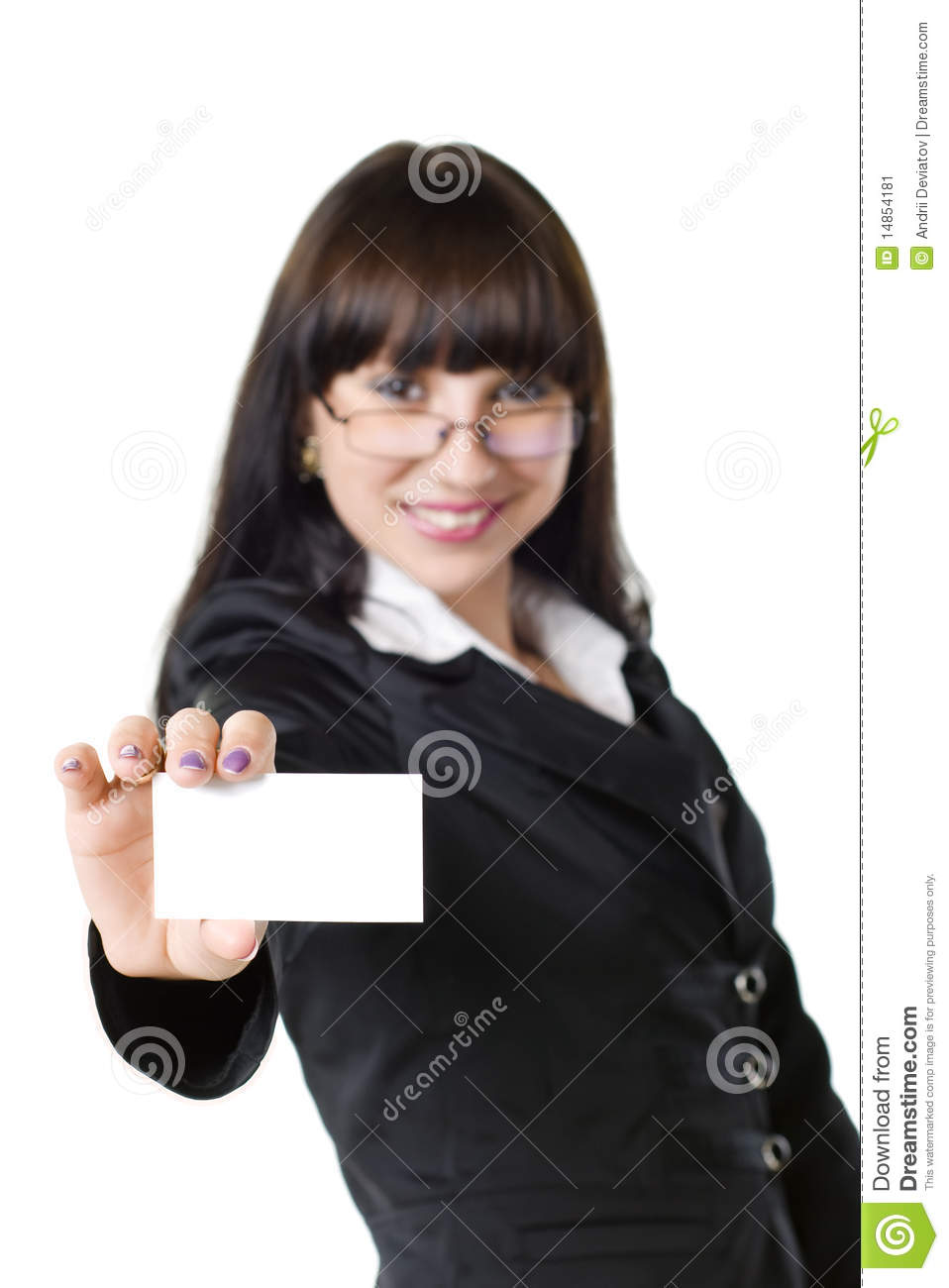 Download Intelligent Girl With A Card Stock Image - Image of young, isolated: 14854181