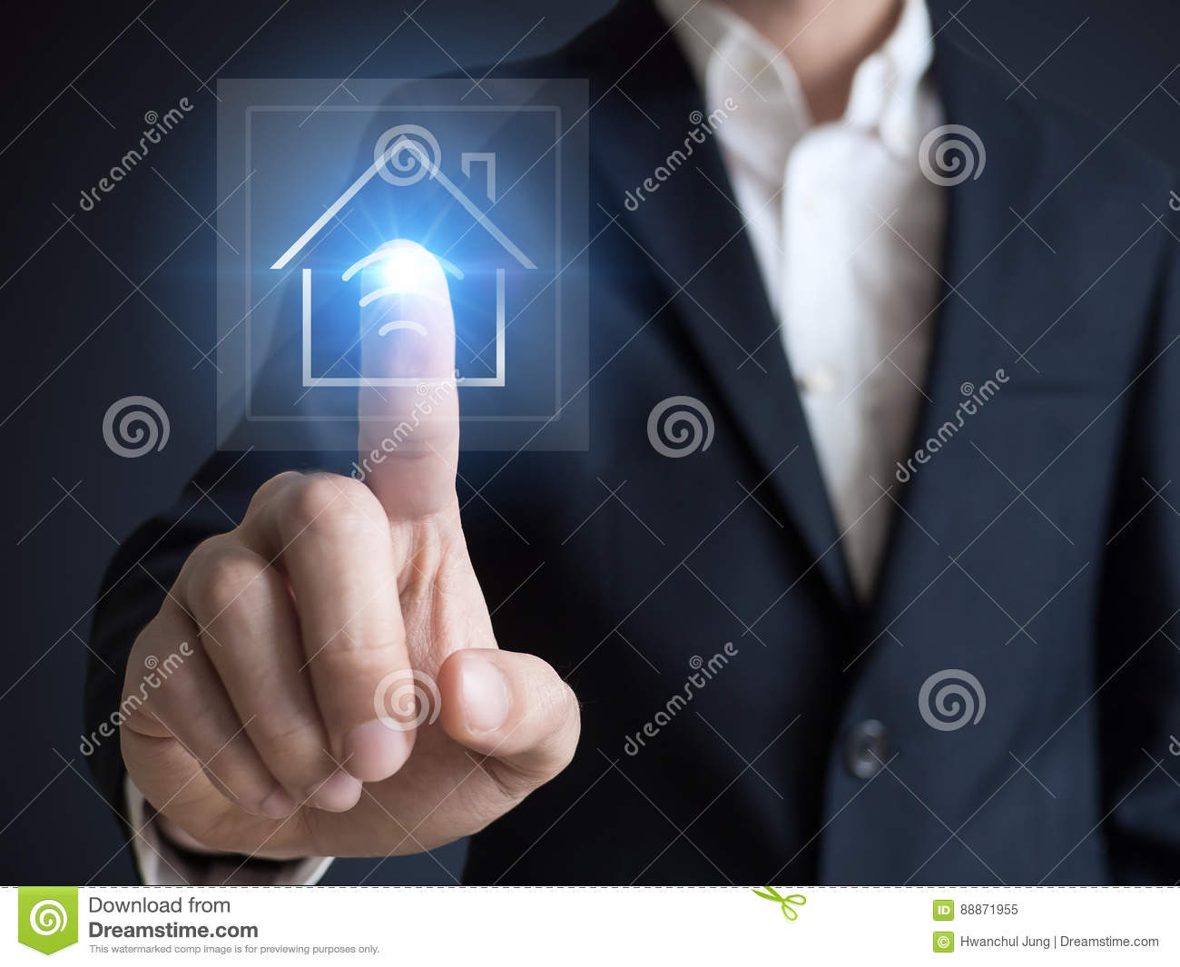Intelligent house, smart home and home automation concept. Symbol of the house and wireless communication