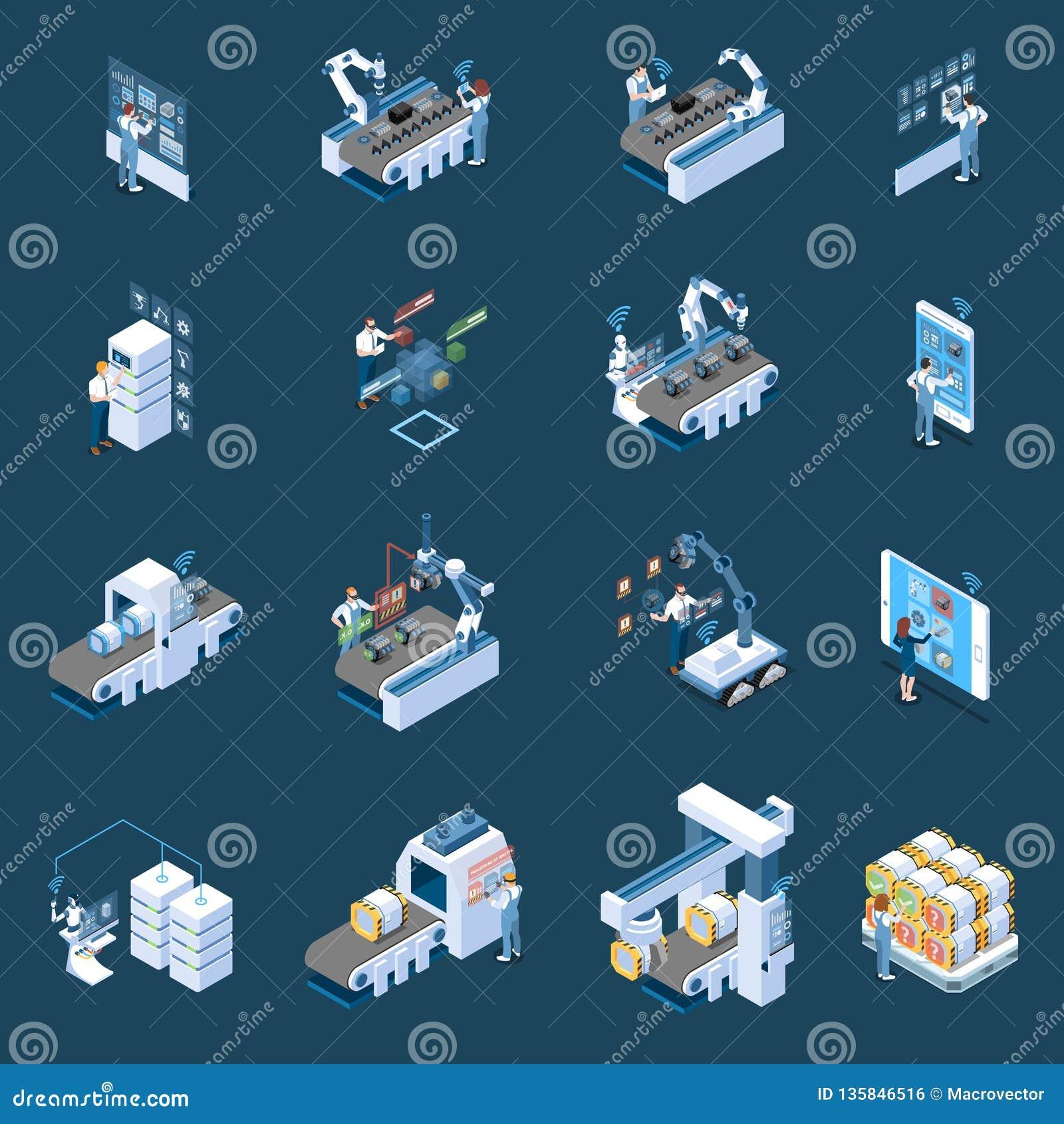 Intelligente Industrie-isometrische Ikonen