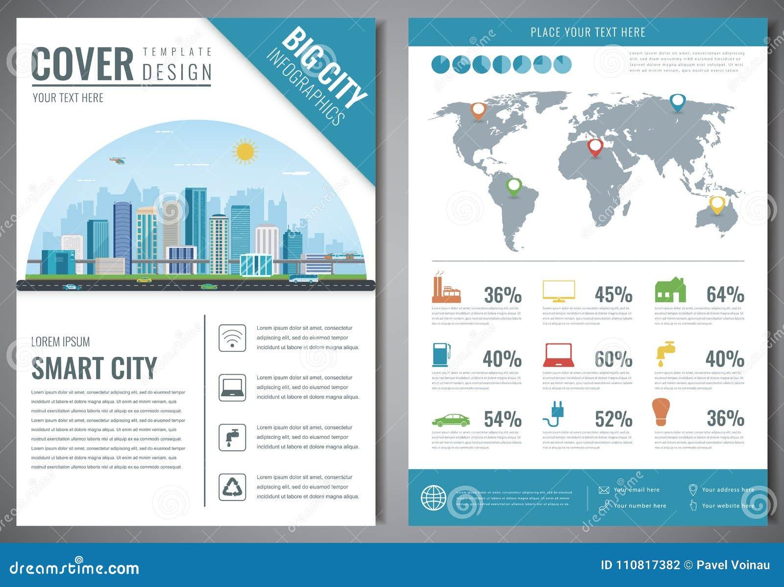 Intelligente Stadtbroschüre Mit Infographic Elementen Schablone Der ...