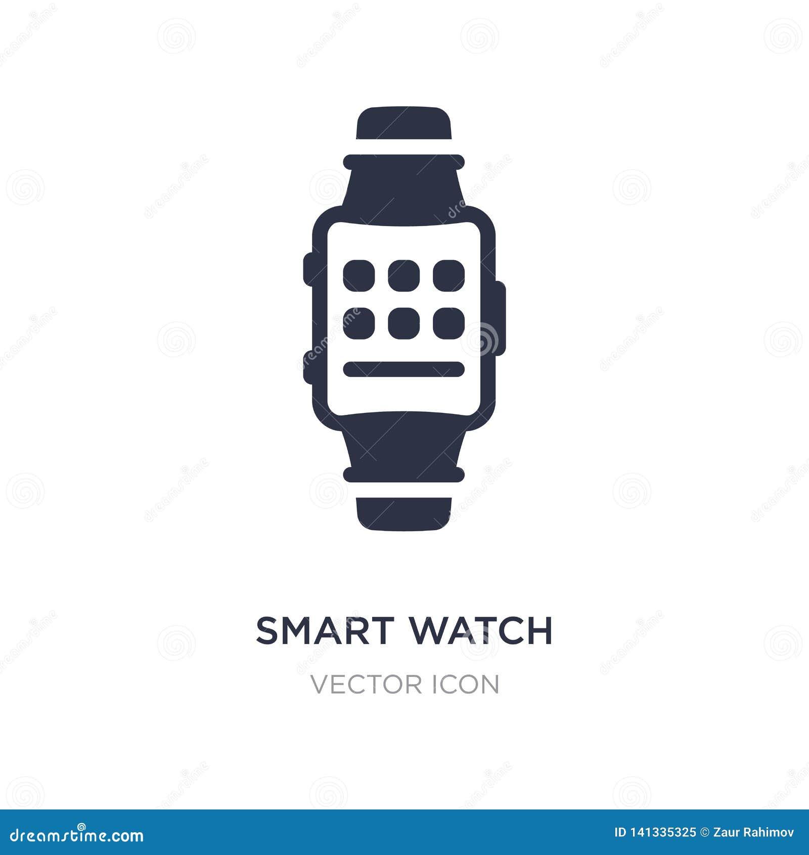 Intelligente Uhrikone auf weißem Hintergrund Einfache Elementillustration vom Technologiekonzept