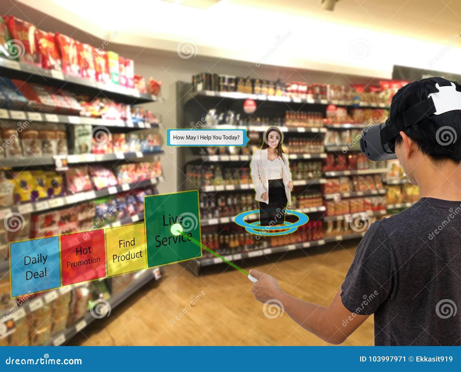 Intelligenter Einzelhandel mit vergrößertem und Technologie der virtuellen Realität conce
