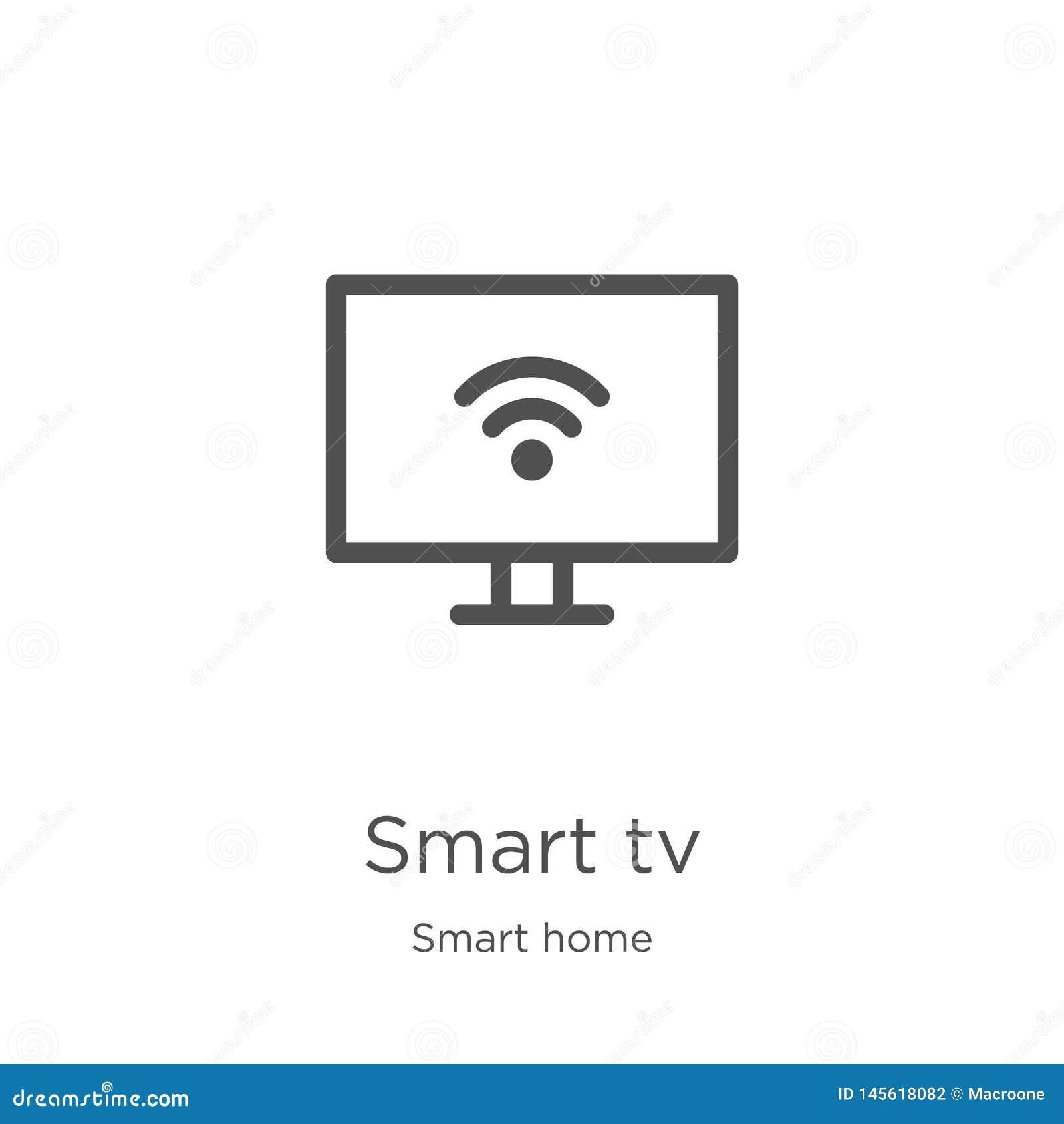 Intelligenter Fernsehikonenvektor von der intelligenten Hauptsammlung D?nne Linie intelligente Fernsehentwurfsikonen-Vektorillust