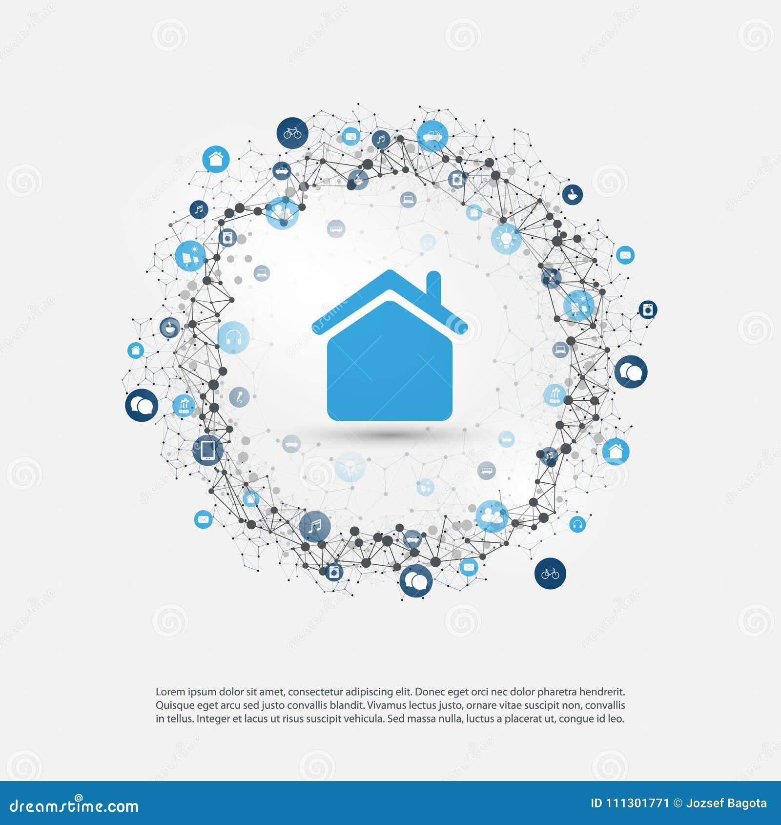 Intelligentes Haus, Internet Von Sachen Oder Wolken ...