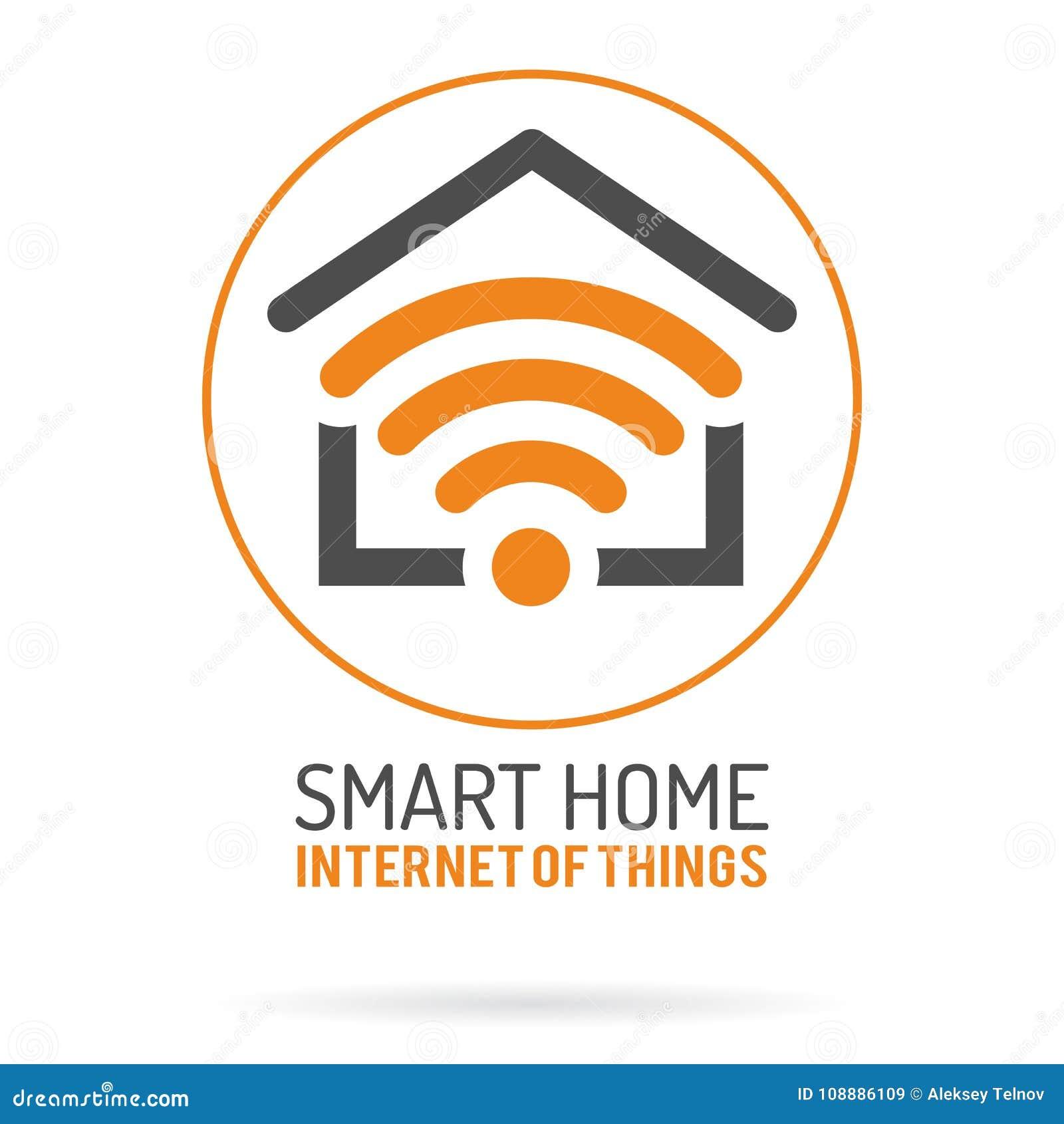 Intelligentes Haus Und Internet Des Sachen-Logos Vektor Abbildung ...