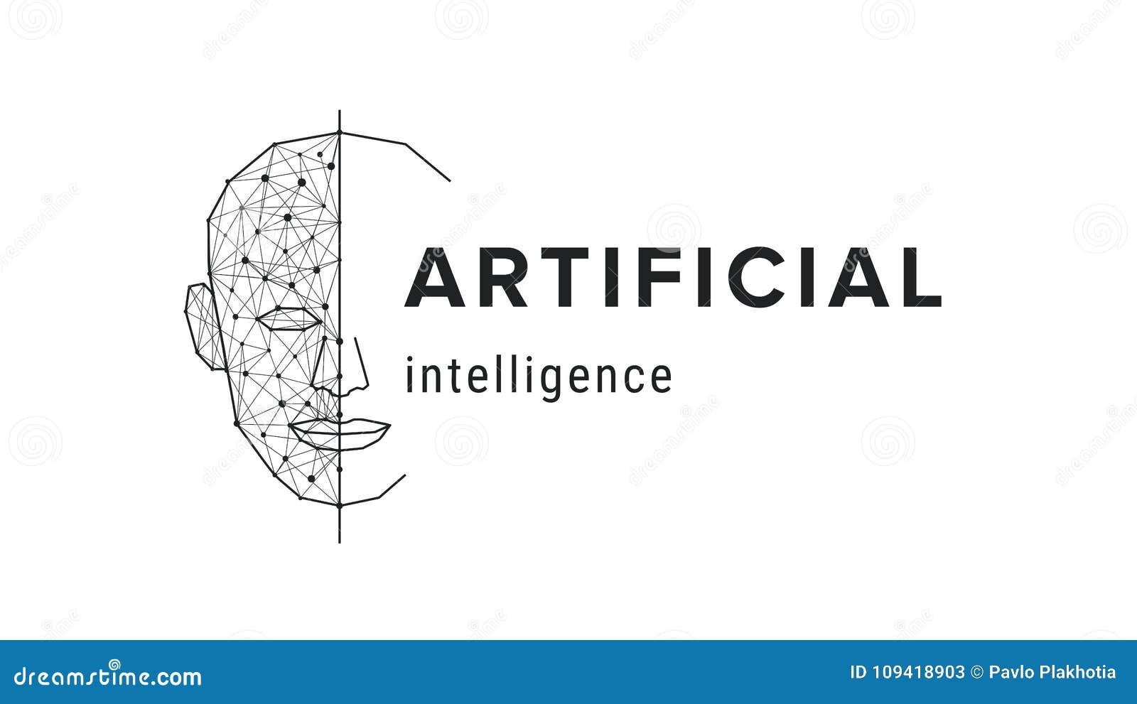 Intelligenza artificiale Concetto futuristico di scienza Viso umano poligonale, tecnologia moderna futuristica