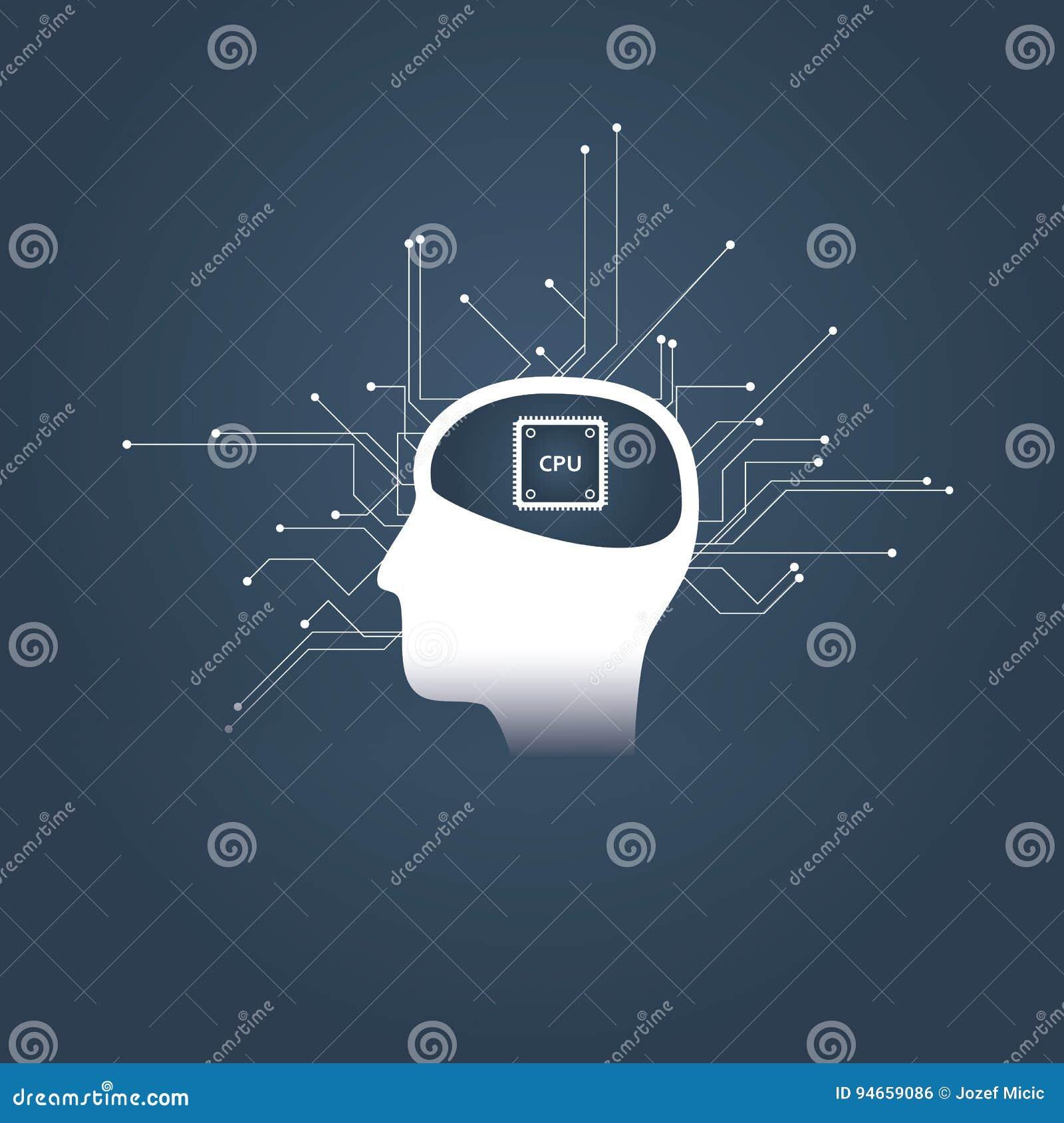 Intelligenza artificiale o concetto di ai con la testa di androide o dell essere umano ed il CPU invece del cervello Simbolo futu