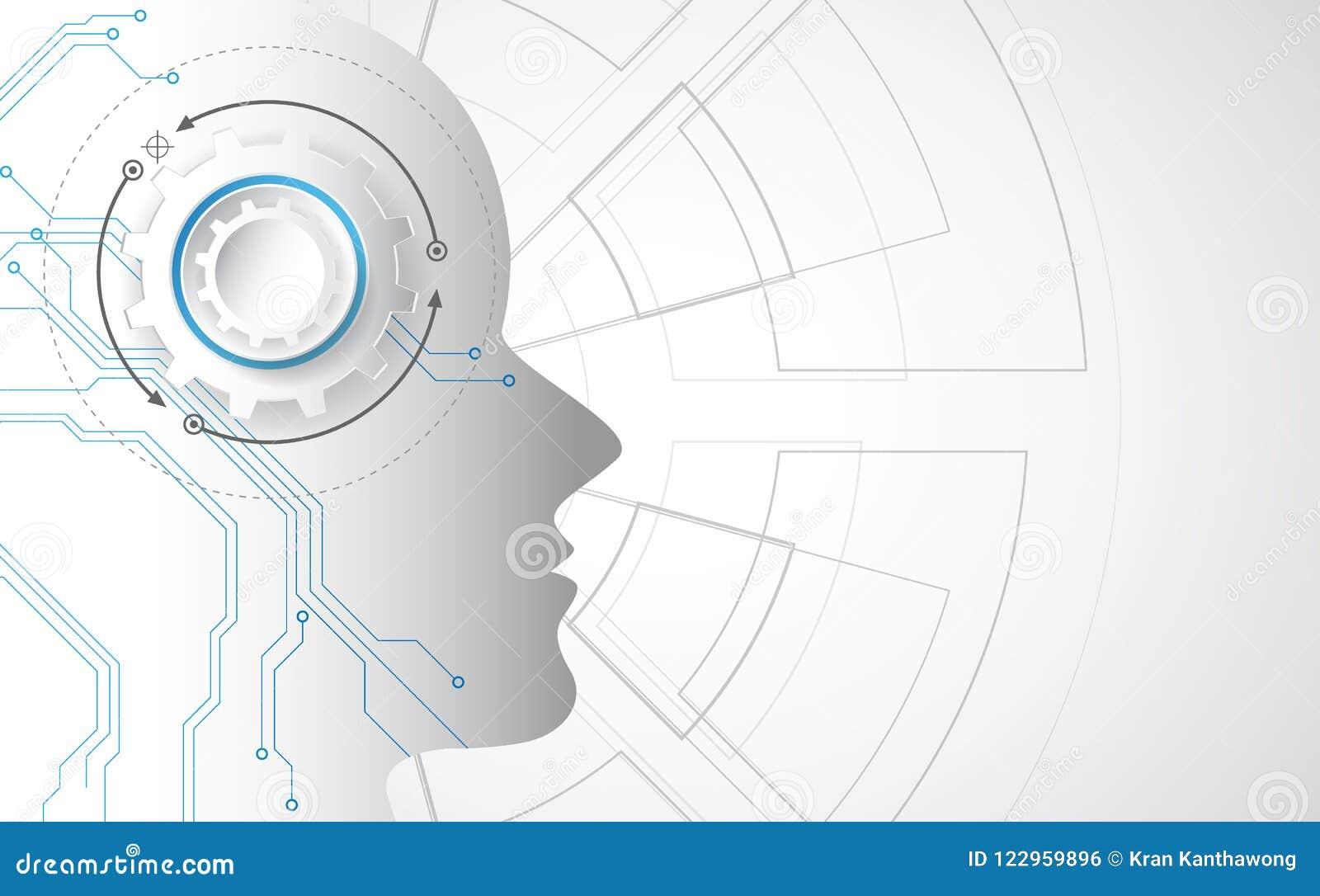 Intelligenza artificiale Tecnologia digitale di AI in futuro Concetto virtuale Priorità bassa dell illustrazione di vettore