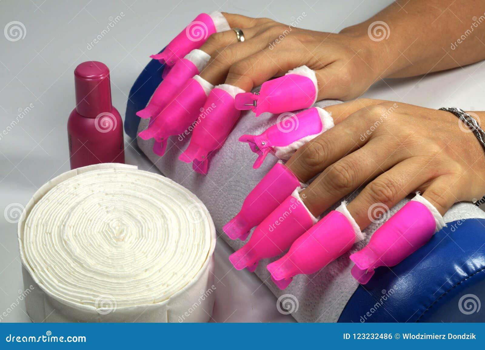 Intens schittert de roze klemmen voor de verwijdering van spijker acryl,