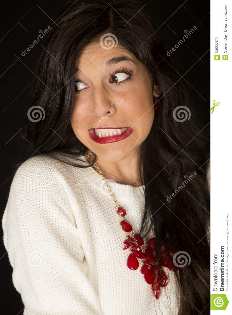 Intense Teeth Gritted Facial Expression On A Dark Woman