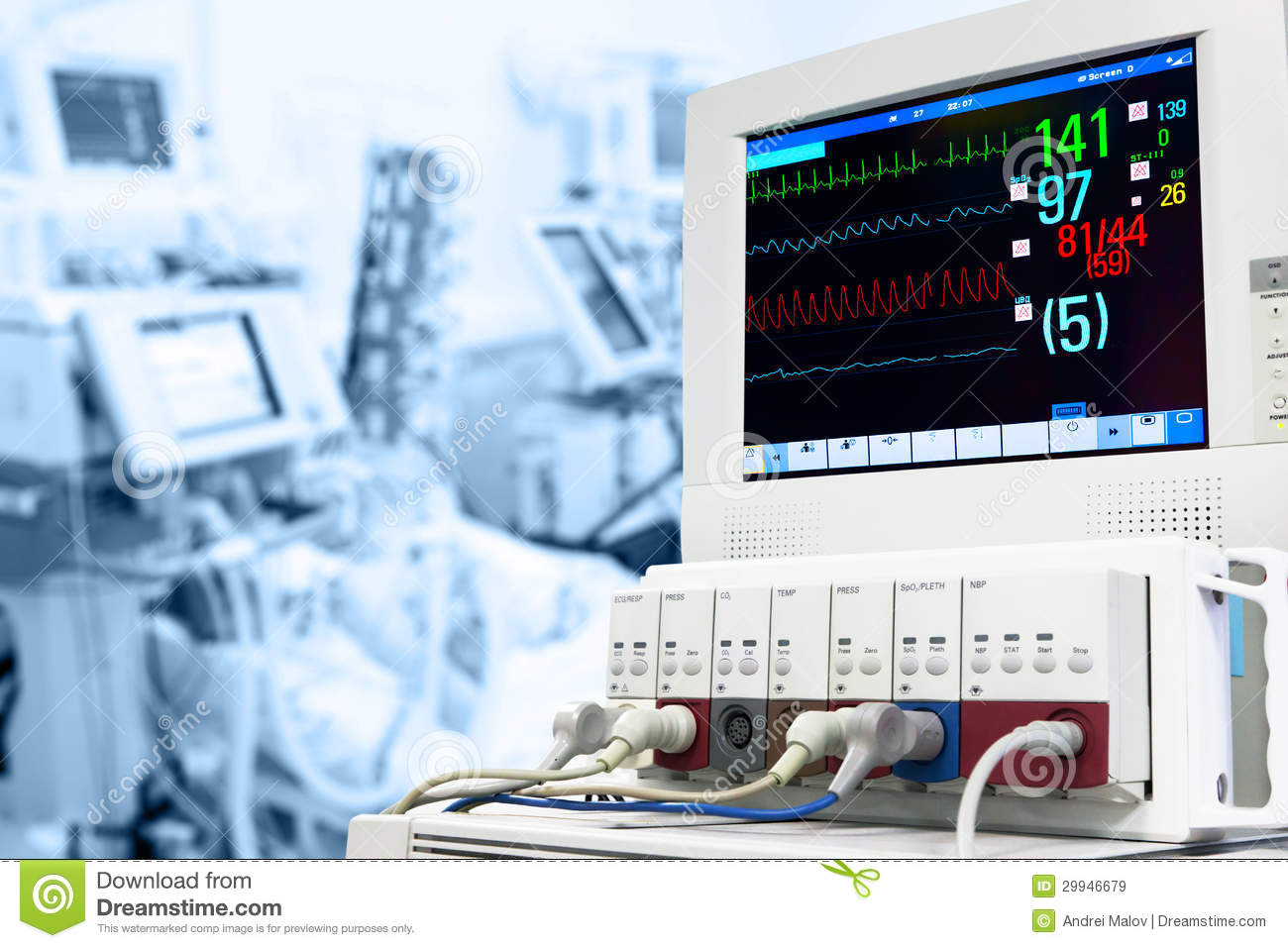 icu with ecg monitor stock image. image of emergency - 29946679, Powerpoint templates