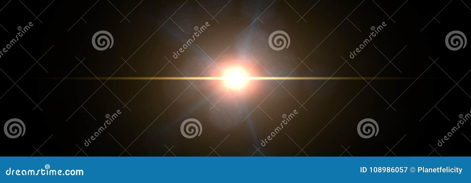 Intensywny złocisty obiektywu racy skutka narzuty tekstury sztandar z bokeh skutkiem i lekka smuga przed czarnym tłem