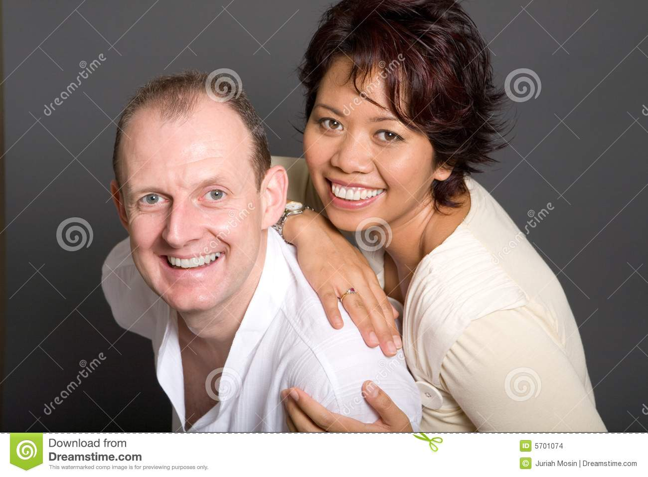 Inter Marriage Couple Of Asian Woman And European Stock