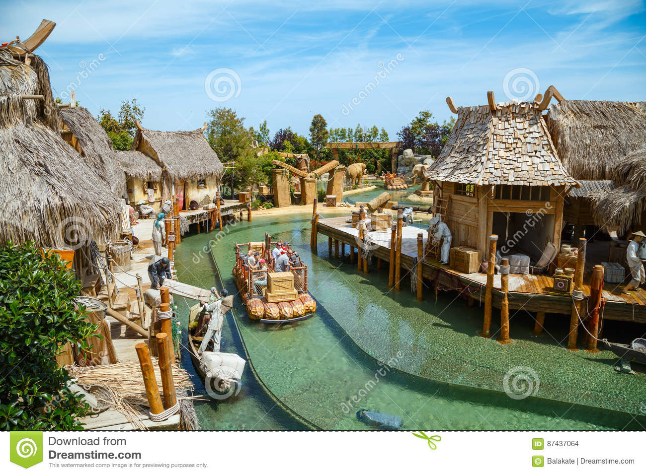 interactive water attraction angkor theme park port aventura in city salou spain editorial. Black Bedroom Furniture Sets. Home Design Ideas