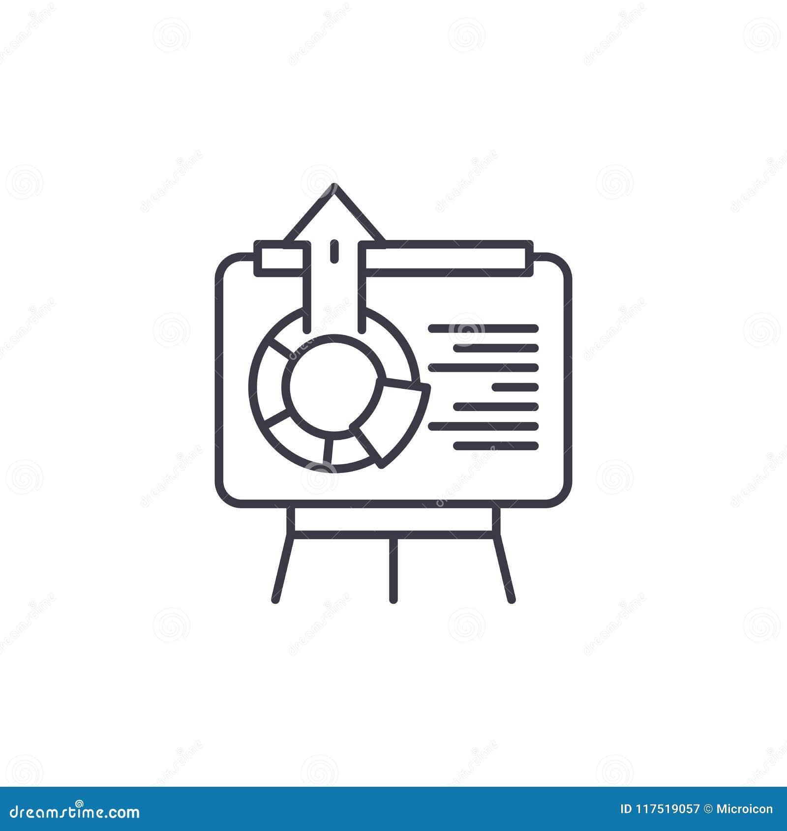 Interaktywnej prezentaci ikony liniowy pojęcie Interaktywny prezentaci linii wektoru znak, symbol, ilustracja