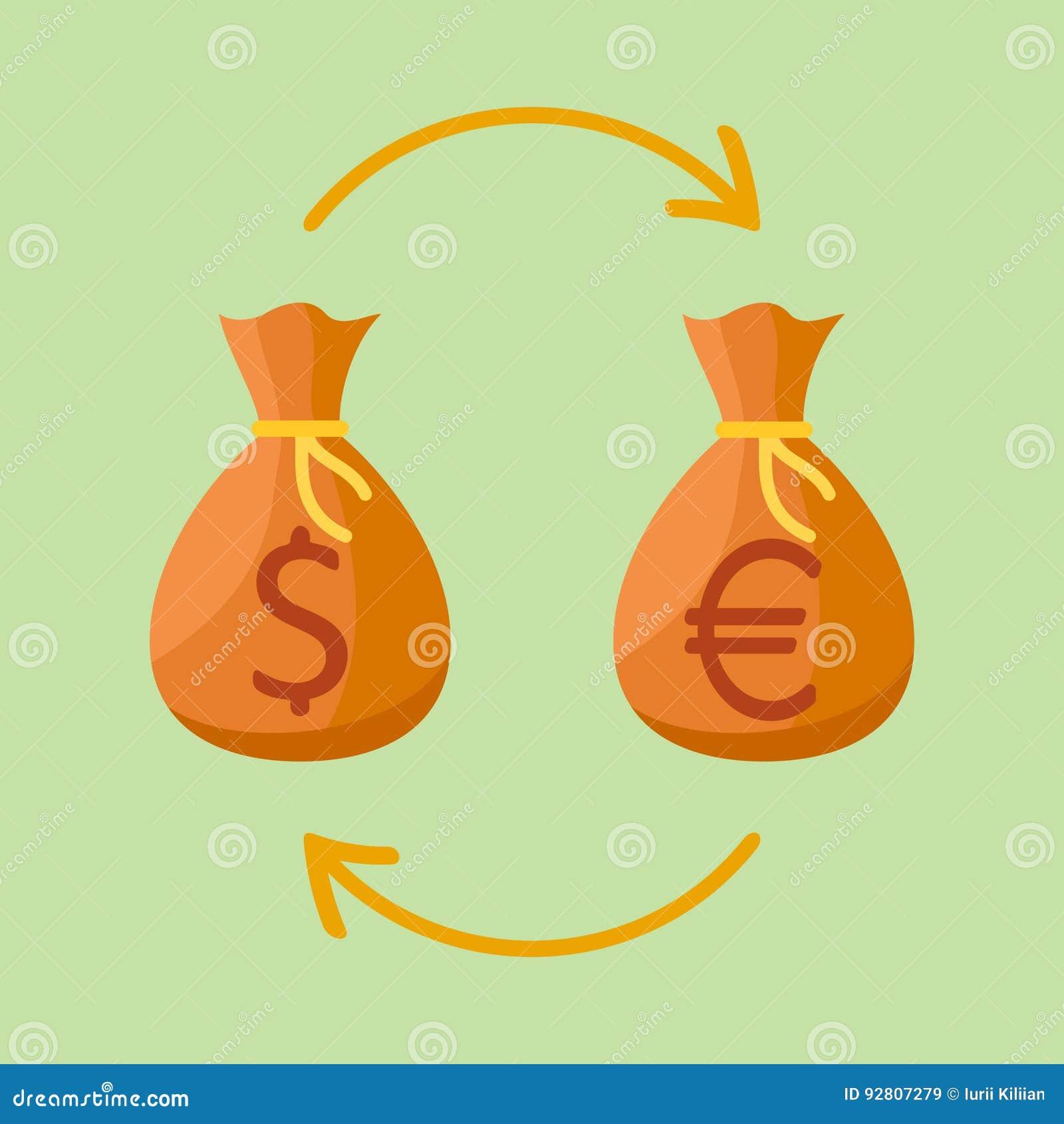 Intercambio de dinero en circulación Bolsos del dinero con la muestra del dólar y del euro