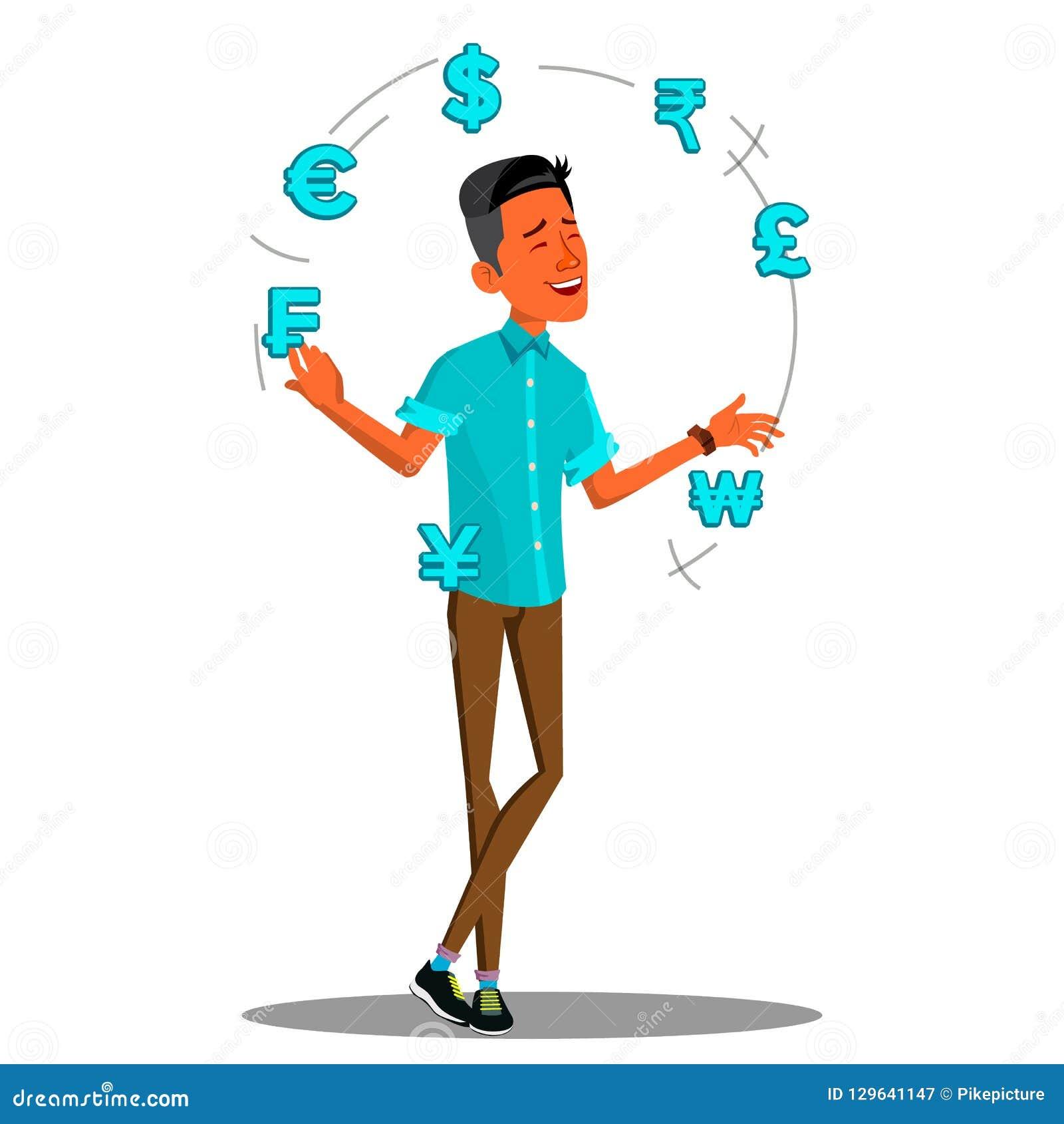 Intercambio de moneda, vector de Juggles Currency Signs del encargado Ilustración aislada