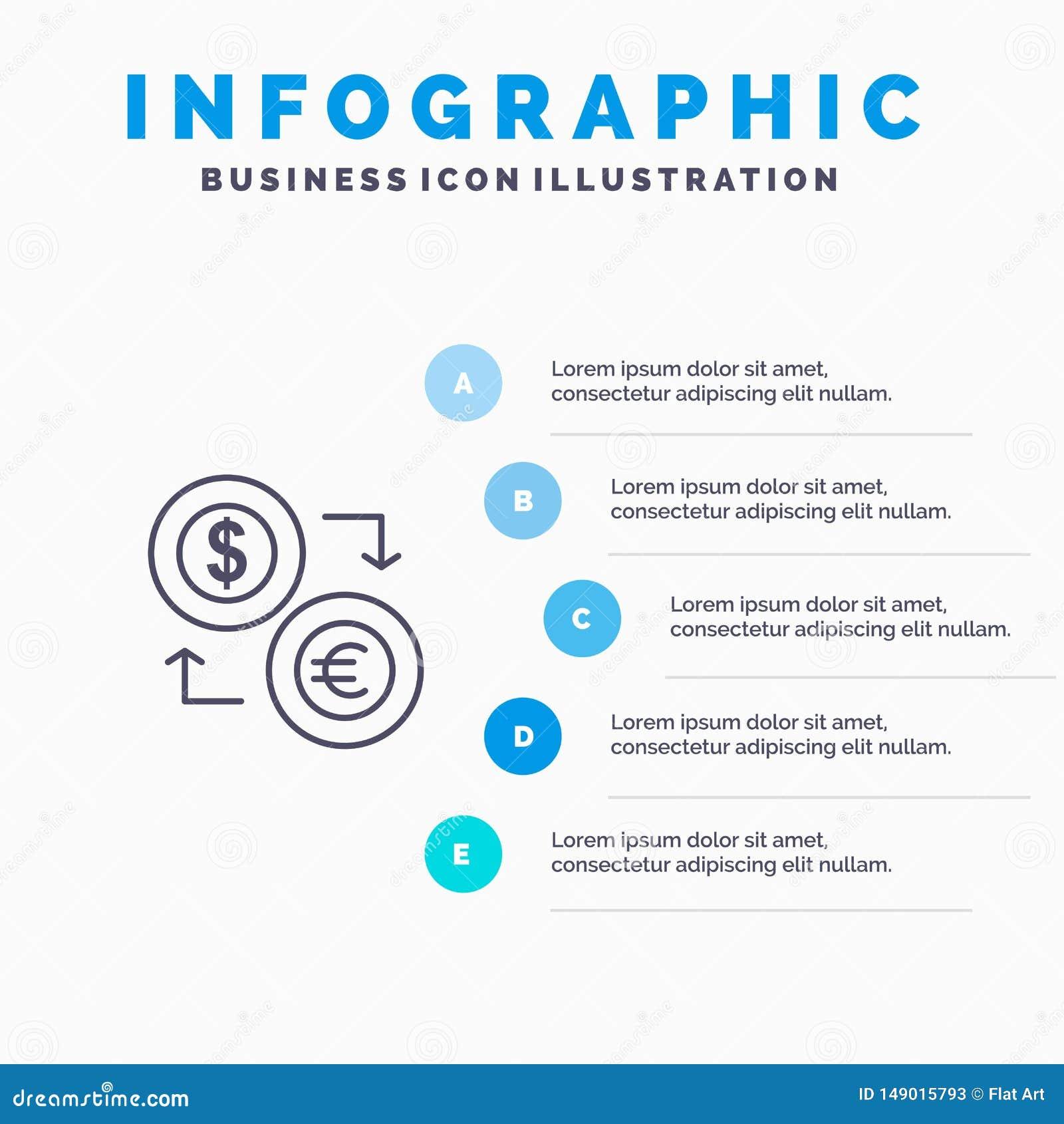Intercambio, monedas, moneda, dólar, euro, finanzas, financieras, línea icono del dinero con el fondo del infographics de la pres