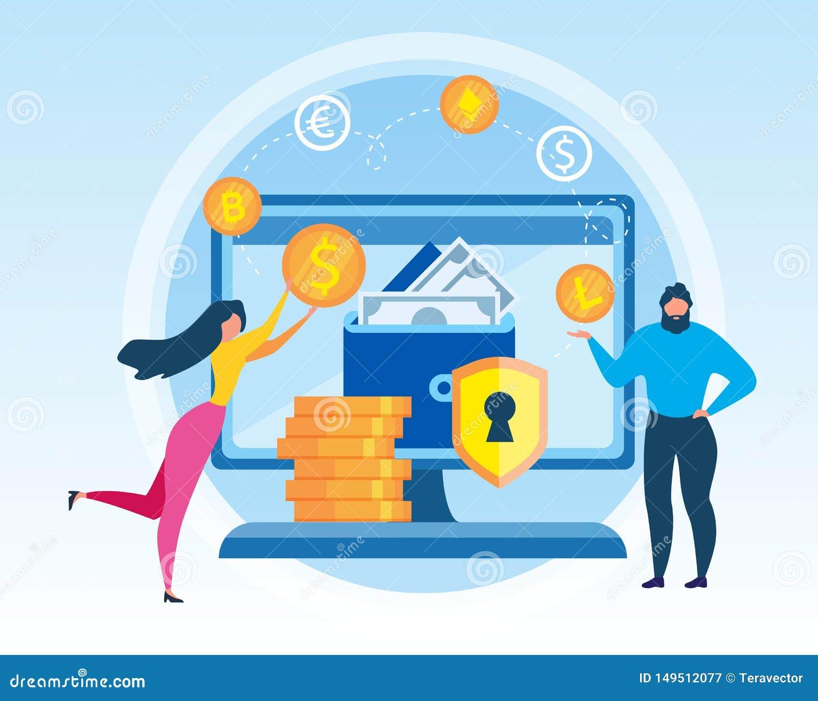 Intercambio virtual de Cryptocurrency de la cartera de la mujer del hombre