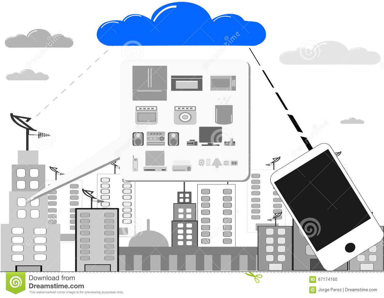 Interconnectivity at home stock vector image of devices for Other uses for household items
