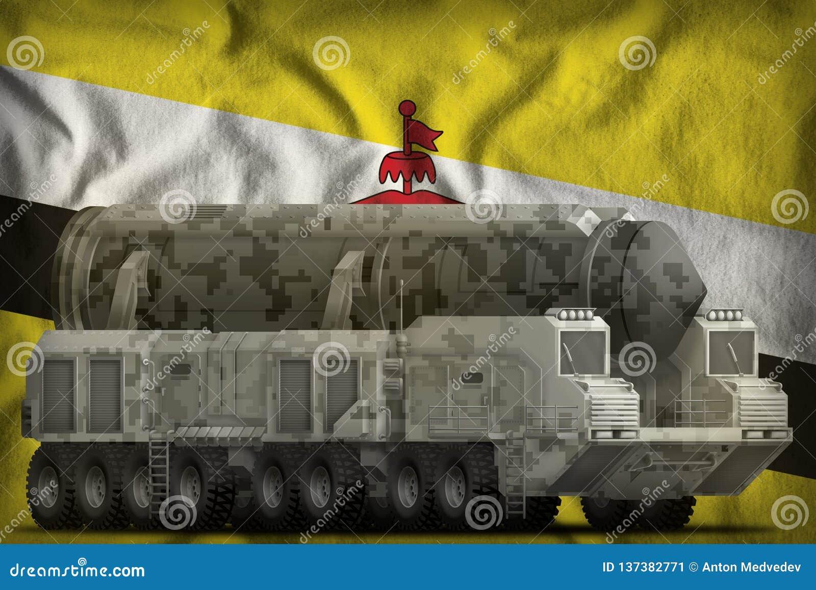 Intercontinentaal ballistisch projectiel met stadscamouflage op de nationale de vlagachtergrond van Brunei Darussalam 3D Illustra